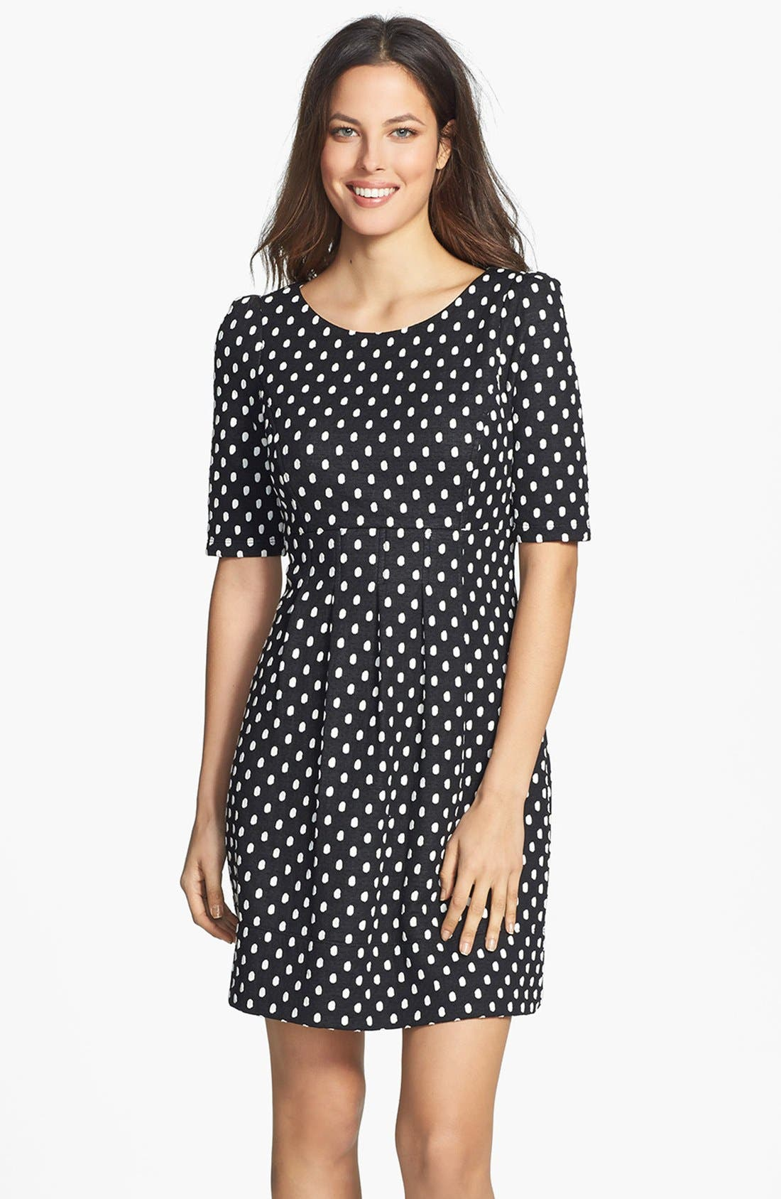 Alternate Image 1 Selected - Donna Ricco Polka Dot Jacquard Dress (Petite)