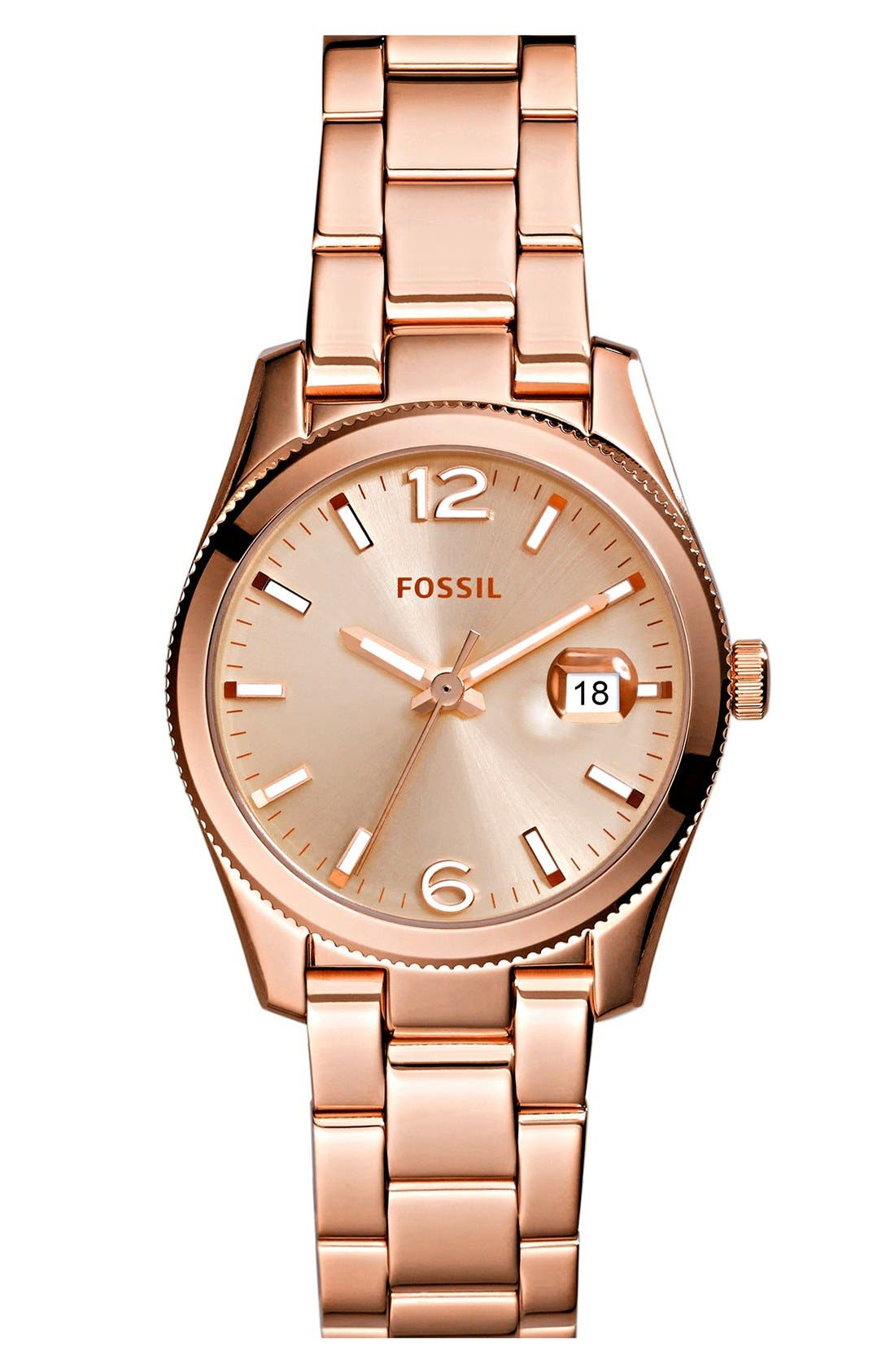 Alternate Image 1 Selected - Fossil 'Perfect Boyfriend' Round Bracelet Watch, 28mm