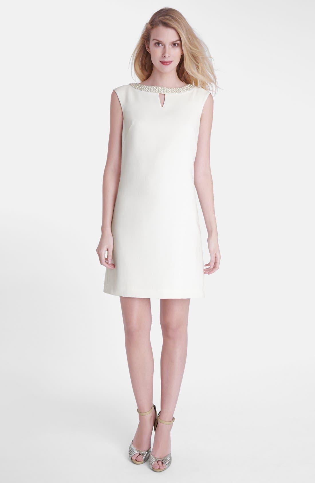 Alternate Image 1 Selected - Tahari Embellished Crepe Shift Dress (Regular & Petite)