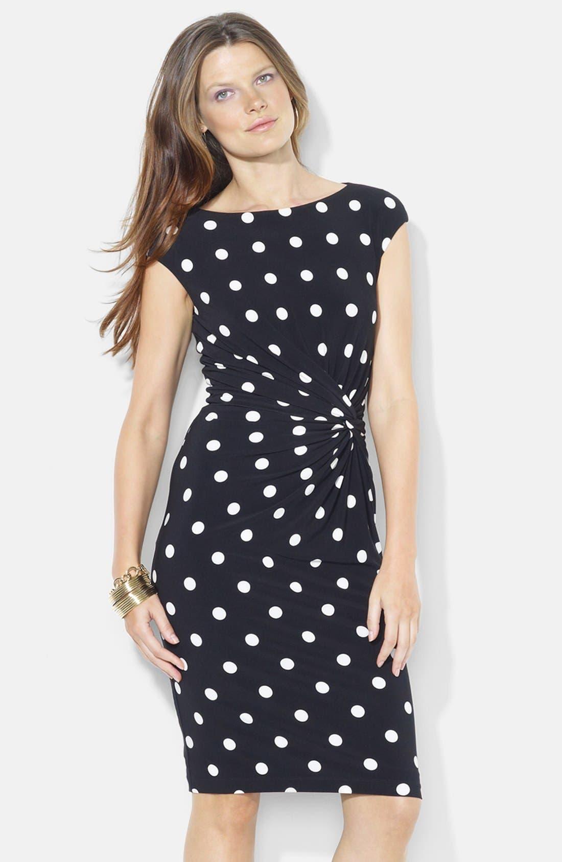 Main Image - Lauren Ralph Lauren Knot Front Print Jersey Sheath Dress