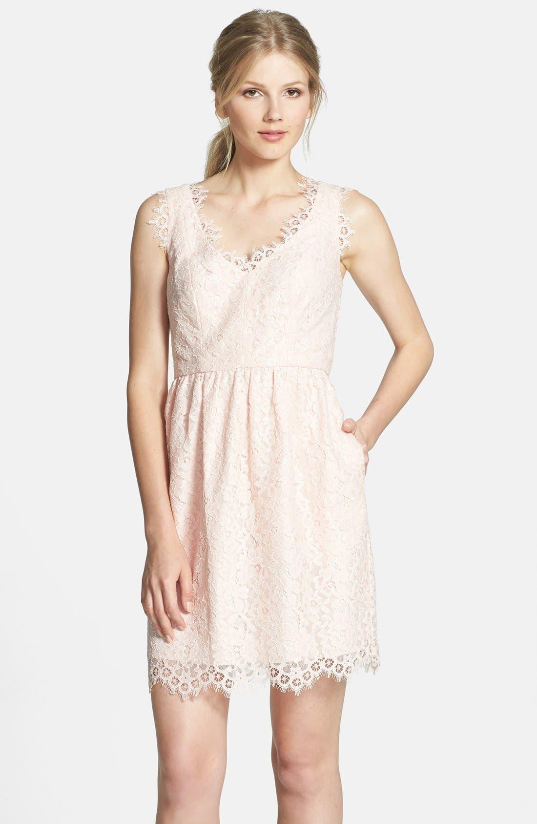 Alternate Image 1 Selected - Shoshanna 'Sierra' Lace Fit & Flare Dress