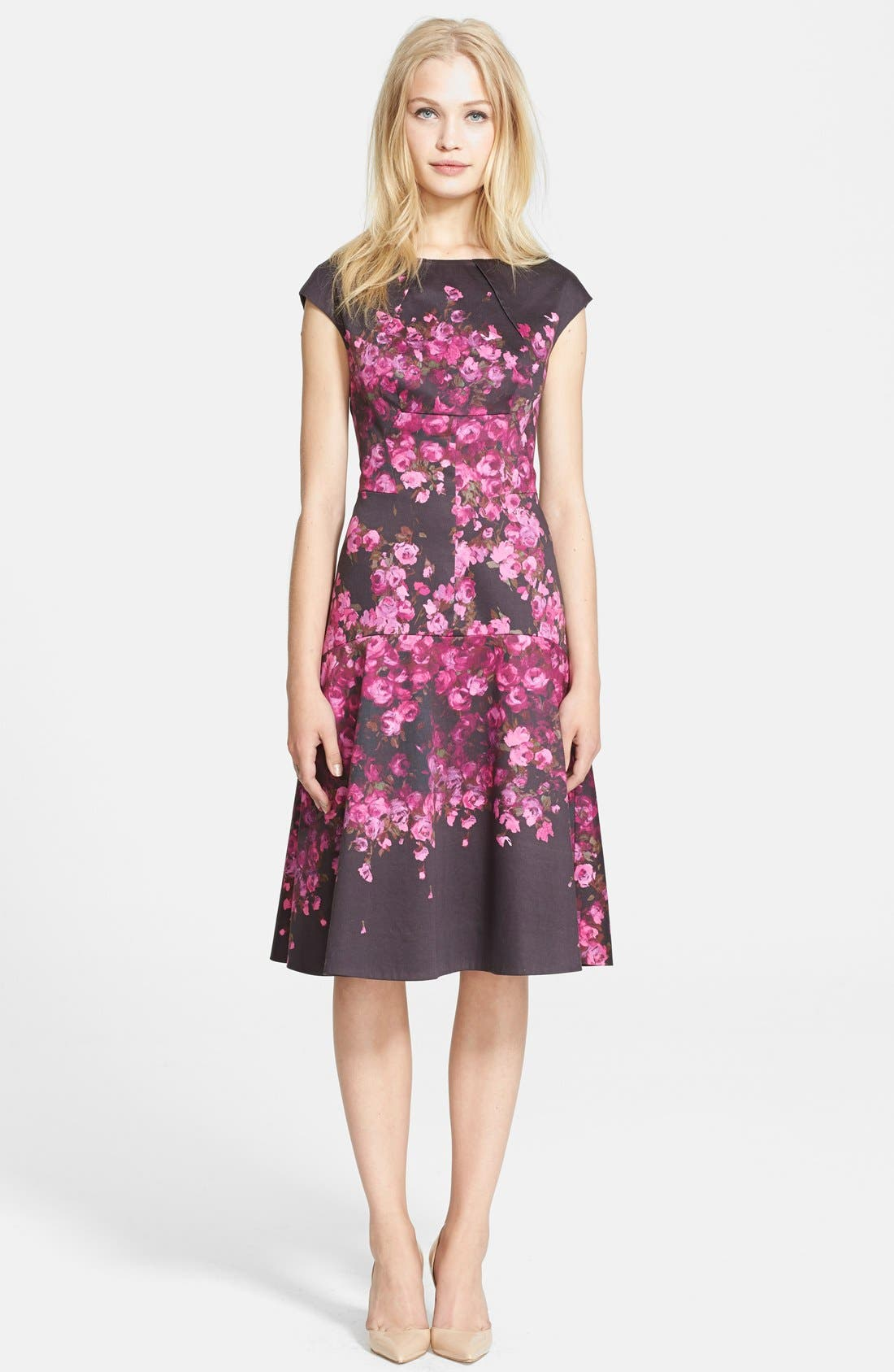 Alternate Image 1 Selected - Lela Rose Floral Drop Waist Stretch Cotton Dress