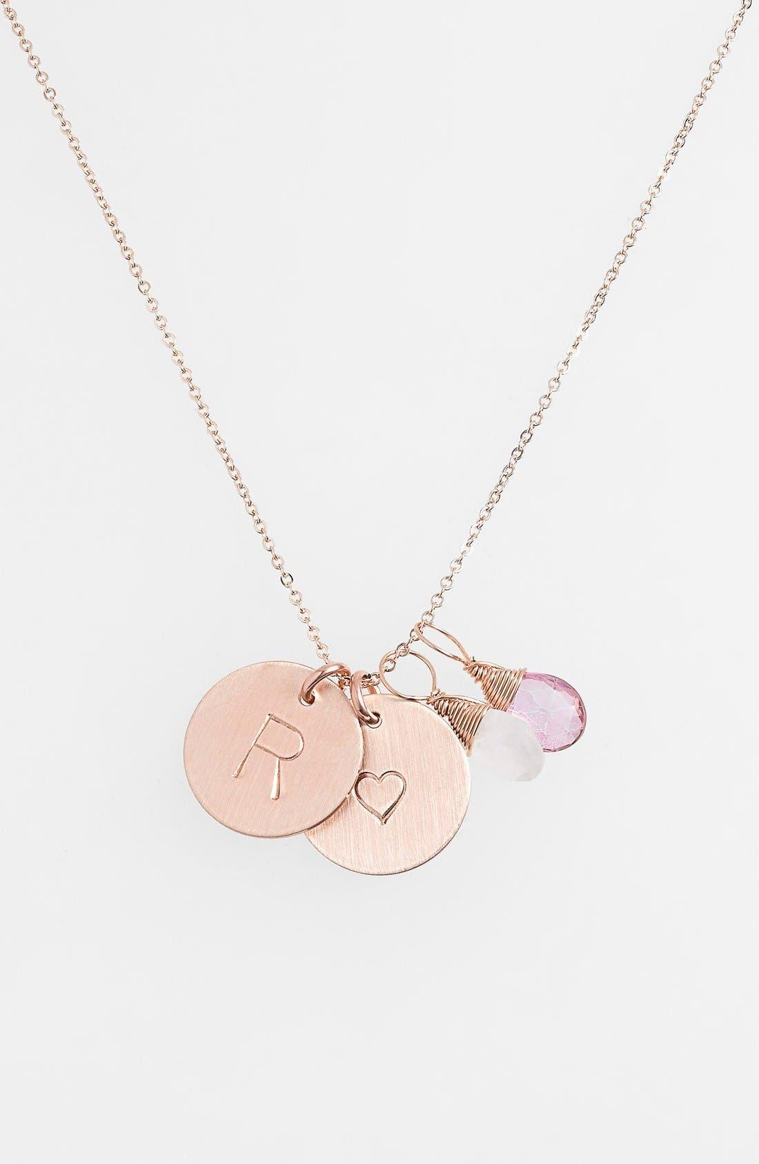 Alternate Image 1 Selected - Nashelle 14k-Gold Fill Heart Disc, Moonstone & Pink Quartz Initial Necklace