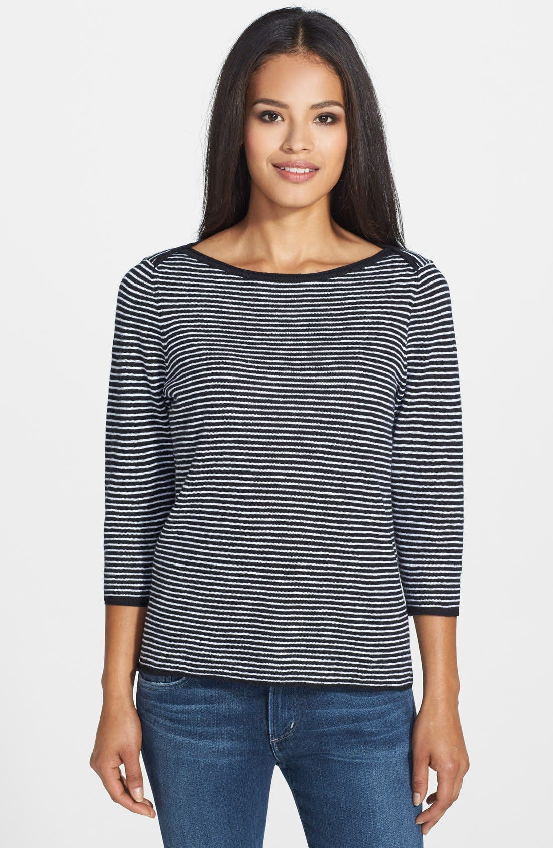 Alternate Image 1 Selected - Eileen Fisher Boatneck Stripe Sweater
