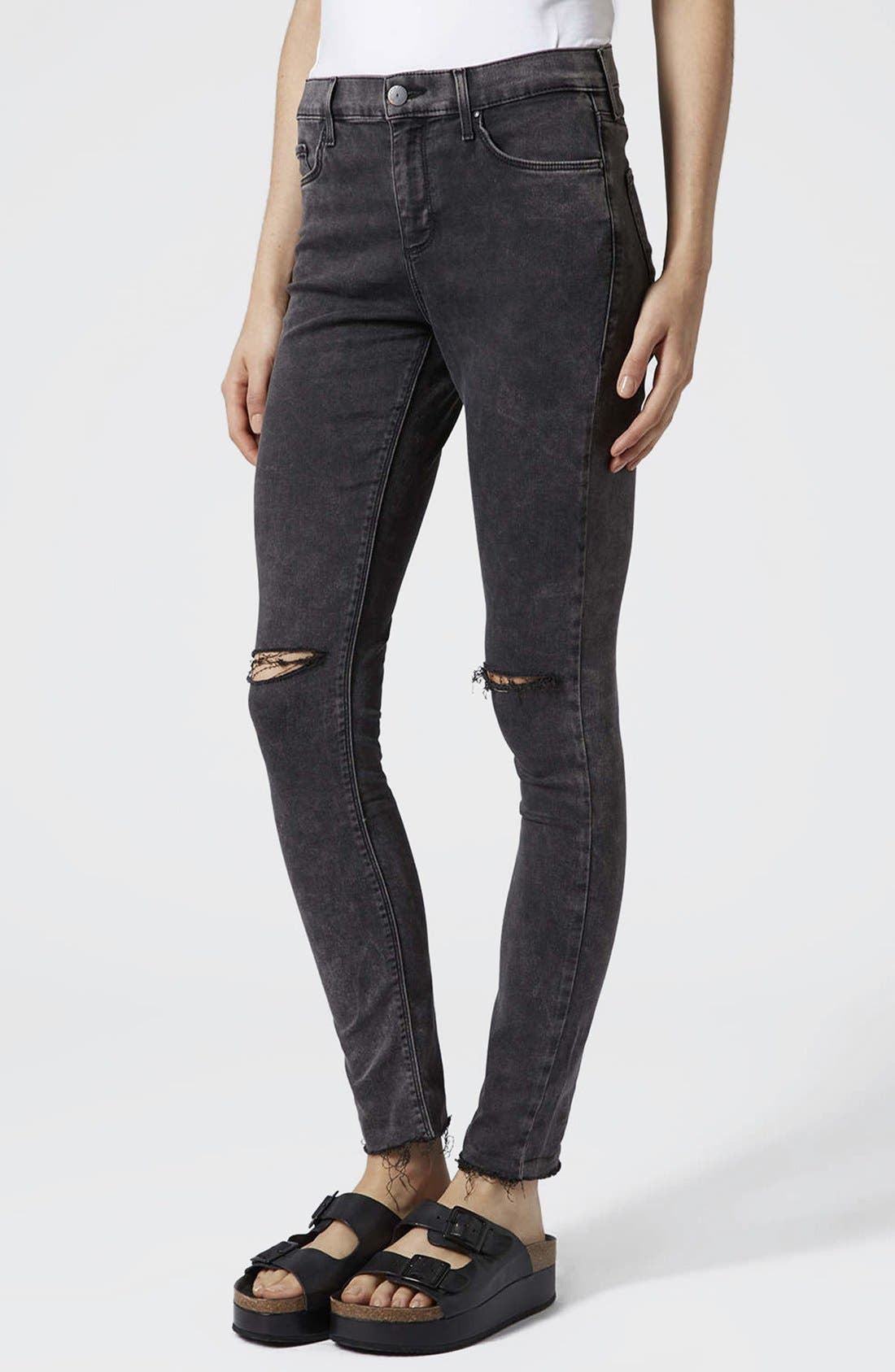 Alternate Image 1 Selected - Topshop Moto 'Leigh' Distressed Skinny Jeans (Black)