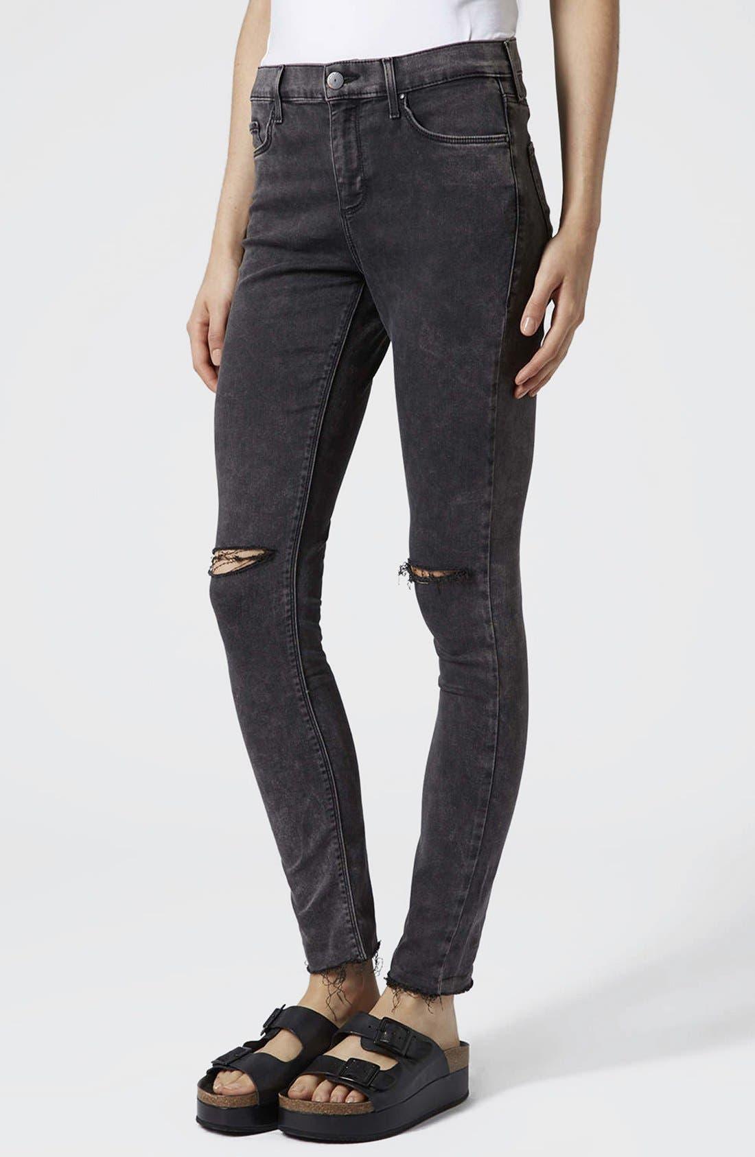 Main Image - Topshop Moto 'Leigh' Distressed Skinny Jeans (Black)