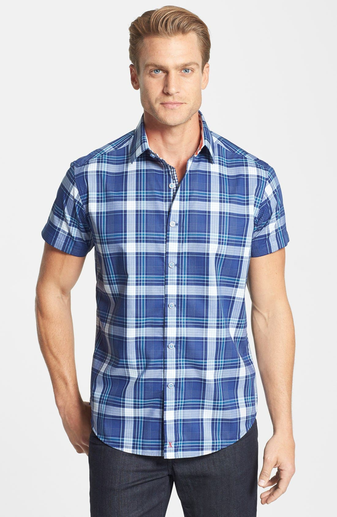 Alternate Image 1 Selected - Robert Graham 'Sandstone' Tailored Fit Cotton Short Sleeve Sport Shirt