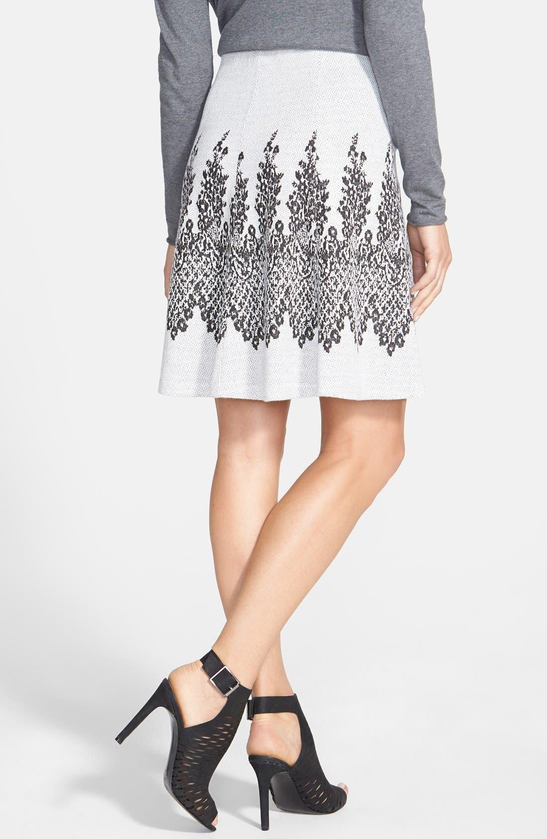 Alternate Image 2  - ECI Flared Jacquard Knit Skirt