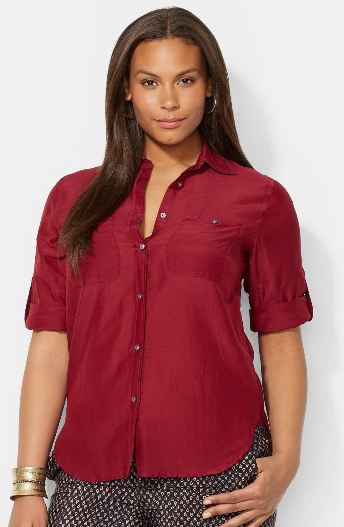 Alternate Image 1 Selected - Lauren Ralph Lauren Cotton & Silk Roll Sleeve Shirt (Plus Size)