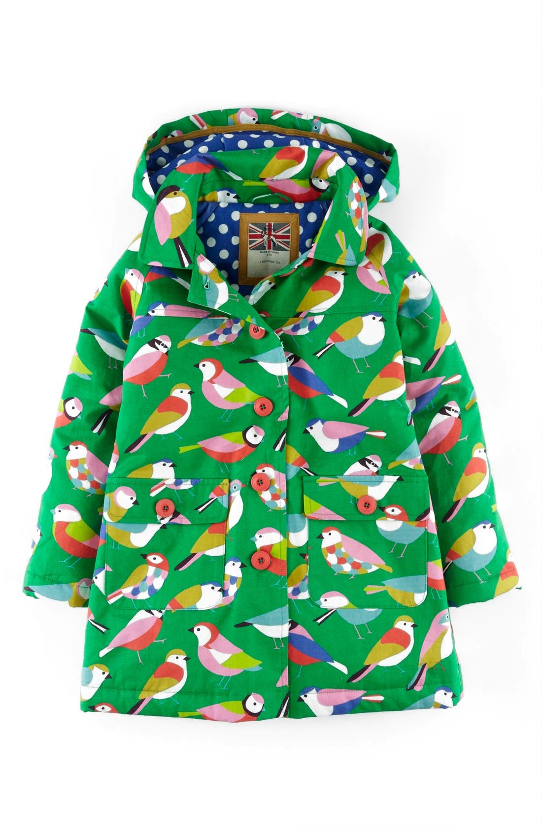 Main Image - Mini Boden Fun Waterproof Hooded Jacket (Toddler Girls, Little Girls & Big Girls)