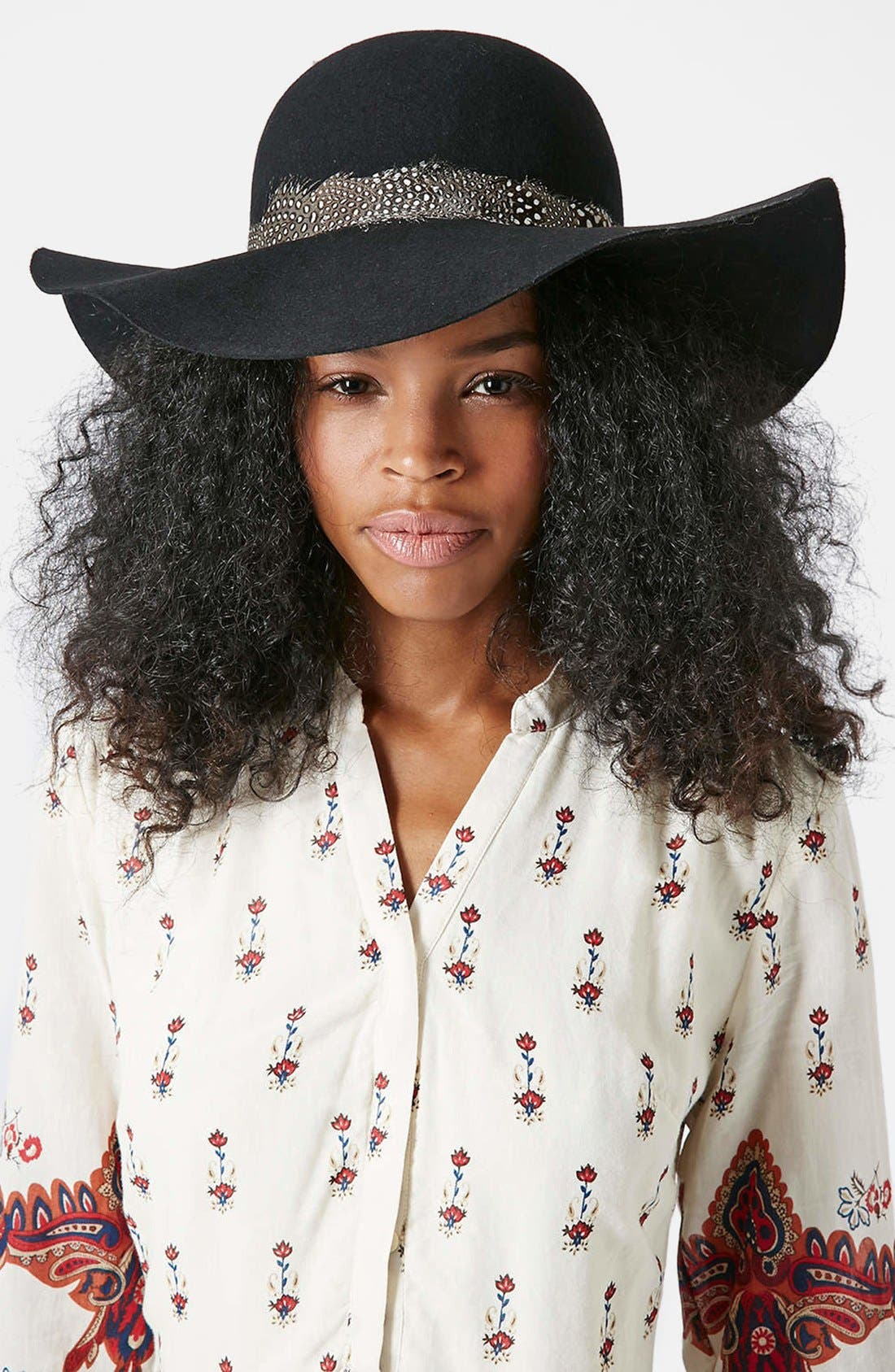 Alternate Image 2  - Topshop Feather Band Floppy Hat