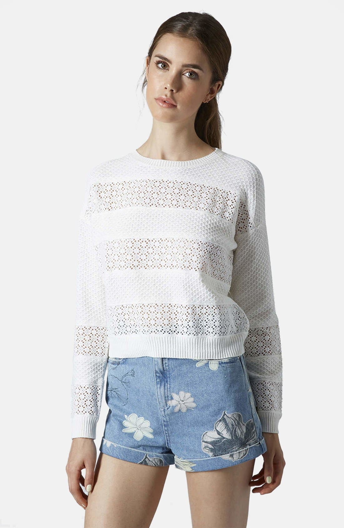 Main Image - Topshop Lace Stripe Sweater