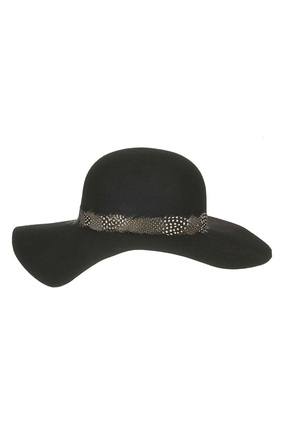 Main Image - Topshop Feather Band Floppy Hat