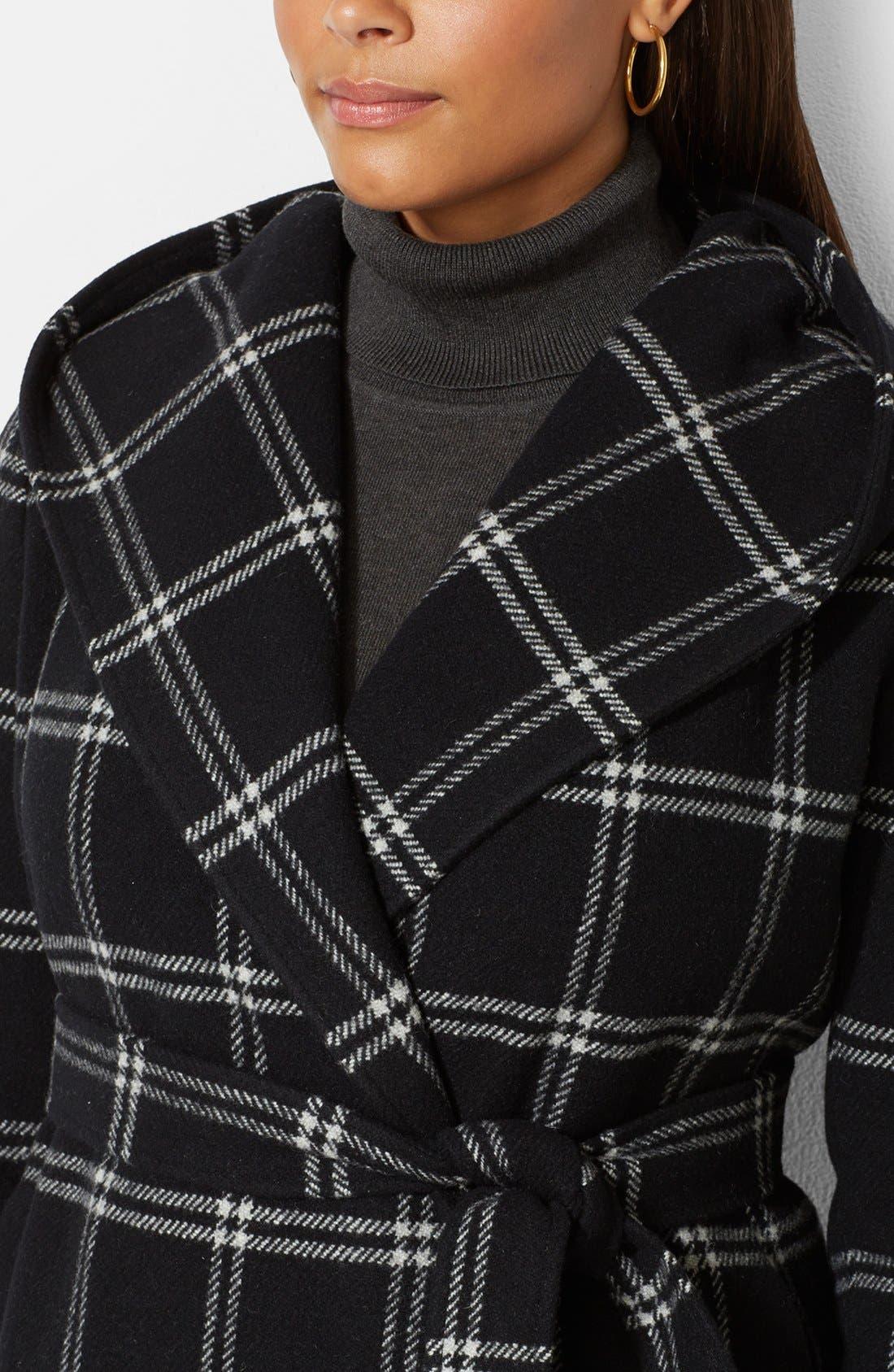 Alternate Image 3  - Lauren Ralph Lauren Windowpane Plaid Hooded Wrap Coat (Plus Size)