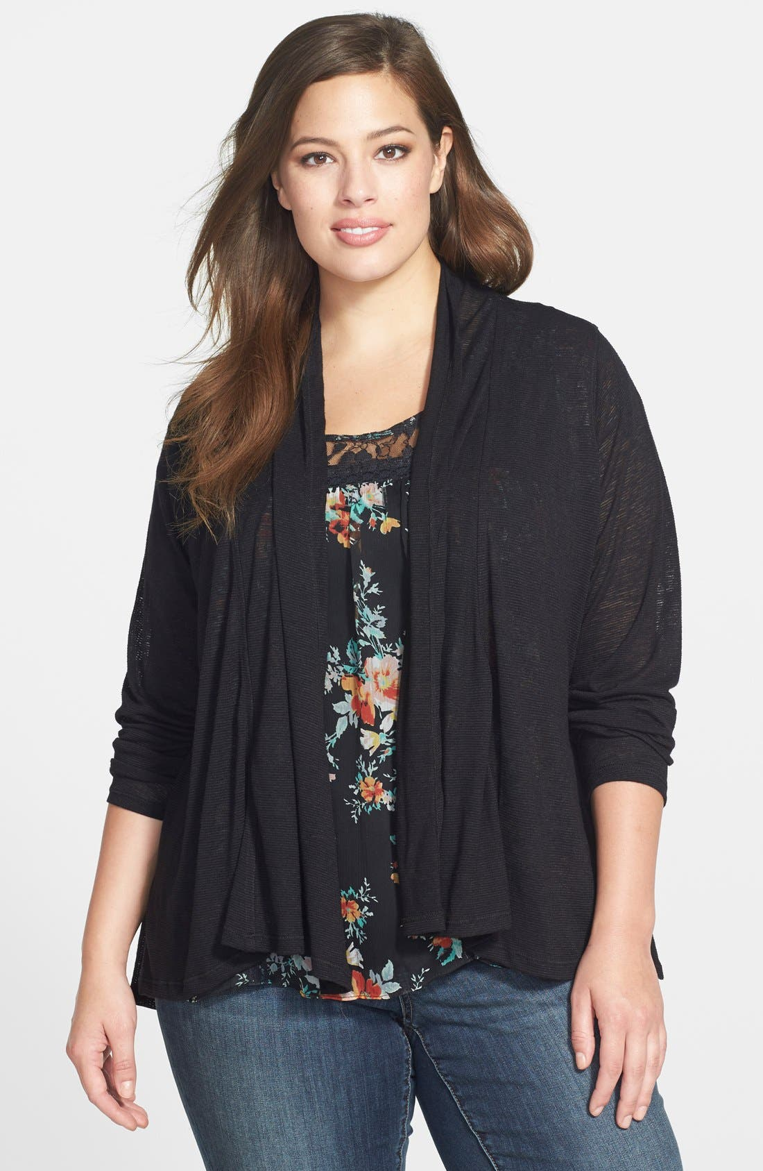 Alternate Image 1 Selected - Jessica Simpson 'Veronica' Chiffon Inset Cardigan (Plus Size)
