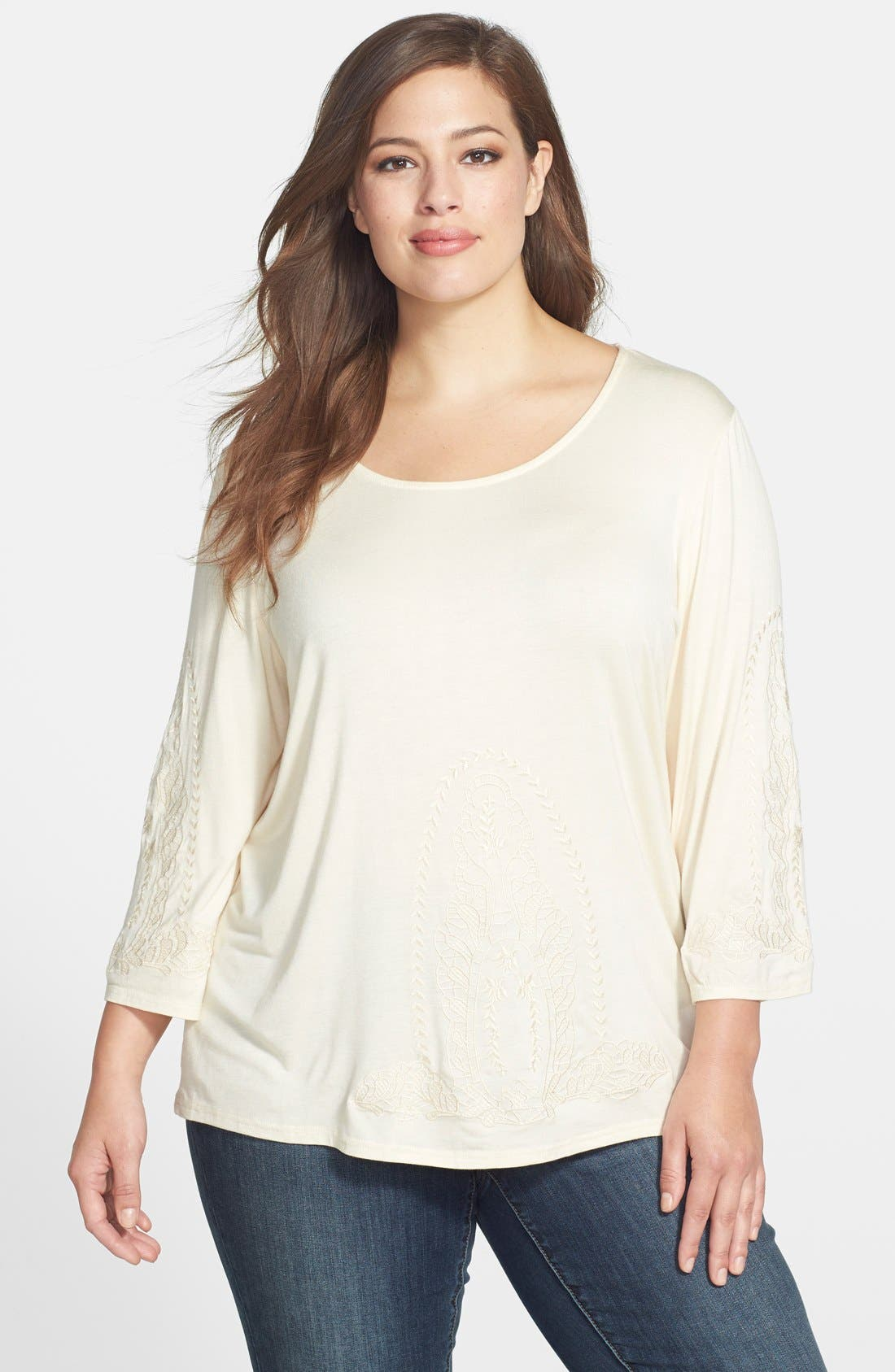 Alternate Image 1 Selected - Forgotten Grace Embroidered Knit Top (Plus Size)
