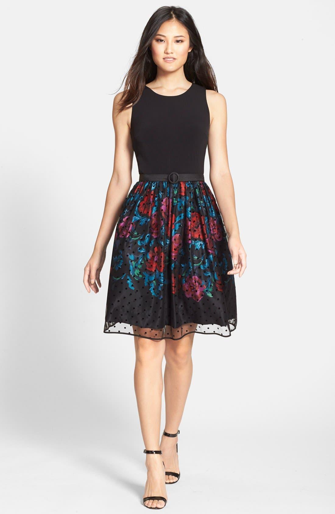 Alternate Image 3  - Eliza J Belted Mixed Media Fit & Flare Dress