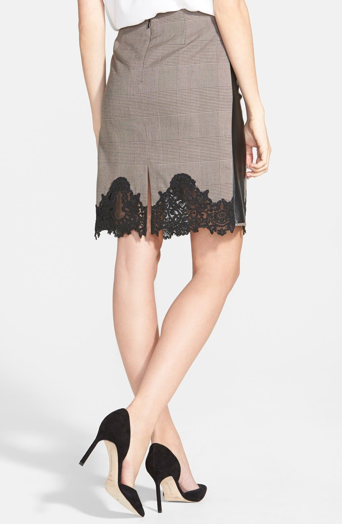 Alternate Image 2  - Adrianna Papell Lace & Faux Leather Trim Plaid Pencil Skirt