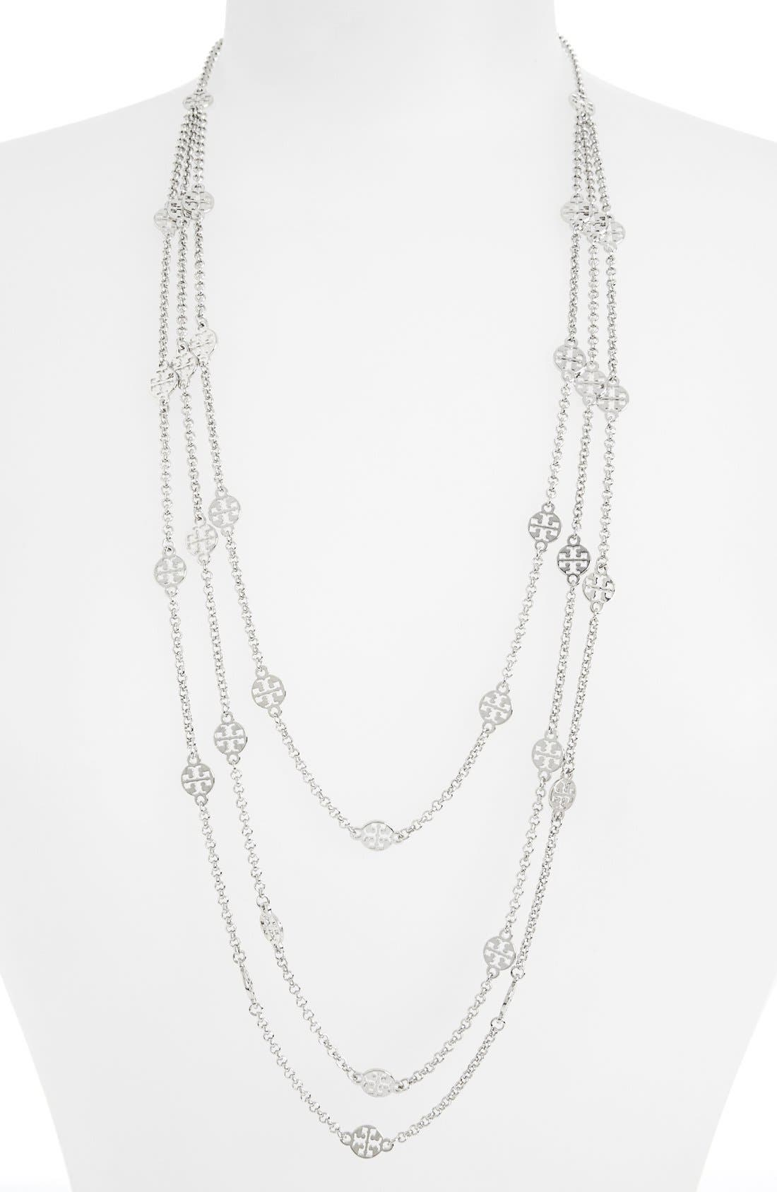 Alternate Image 1 Selected - Tory Burch Long Multistrand Logo Station Necklace