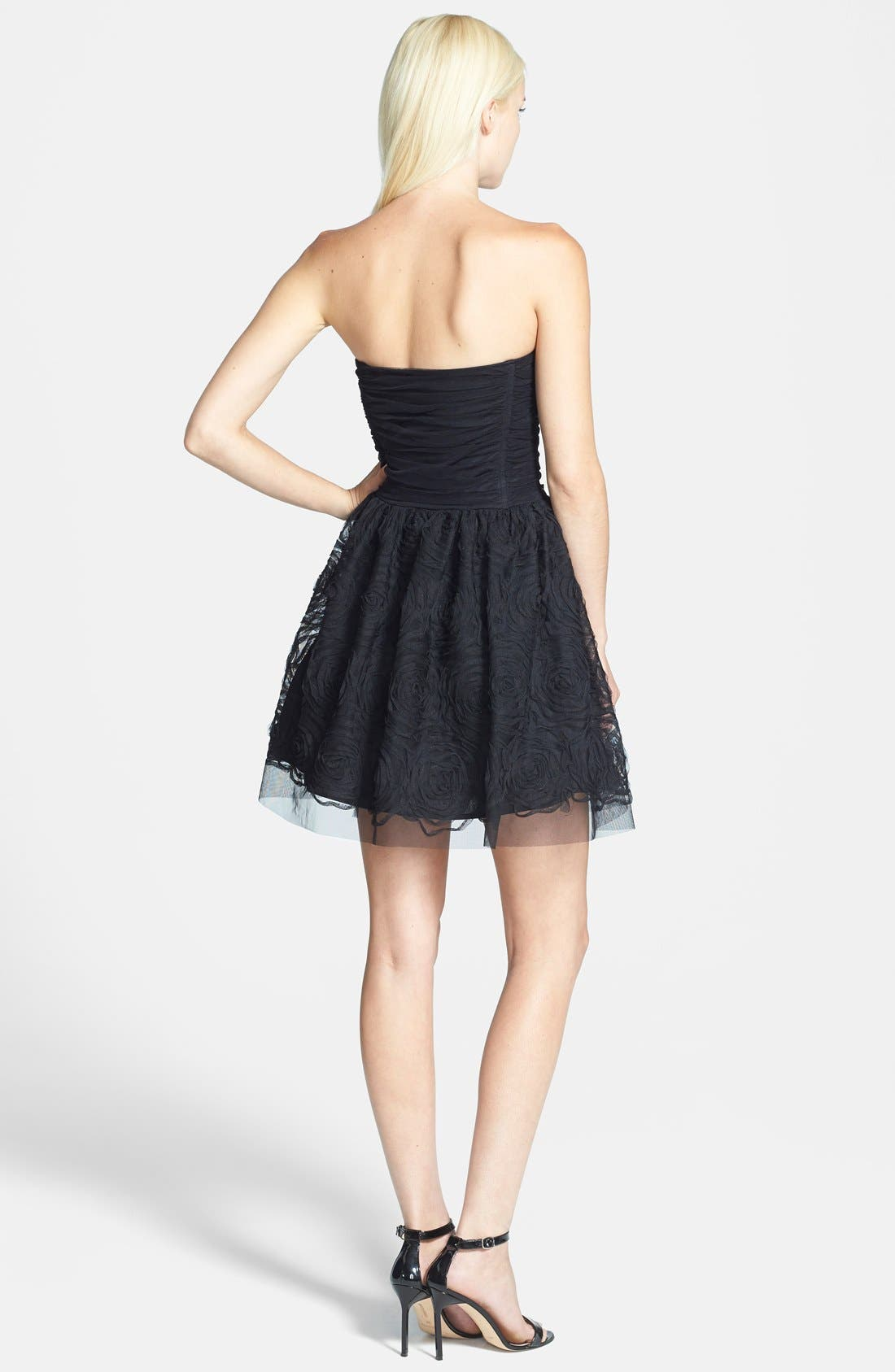 Alternate Image 2  - Betsy & Adam Zip Front Ruched Fit & Flare Dress