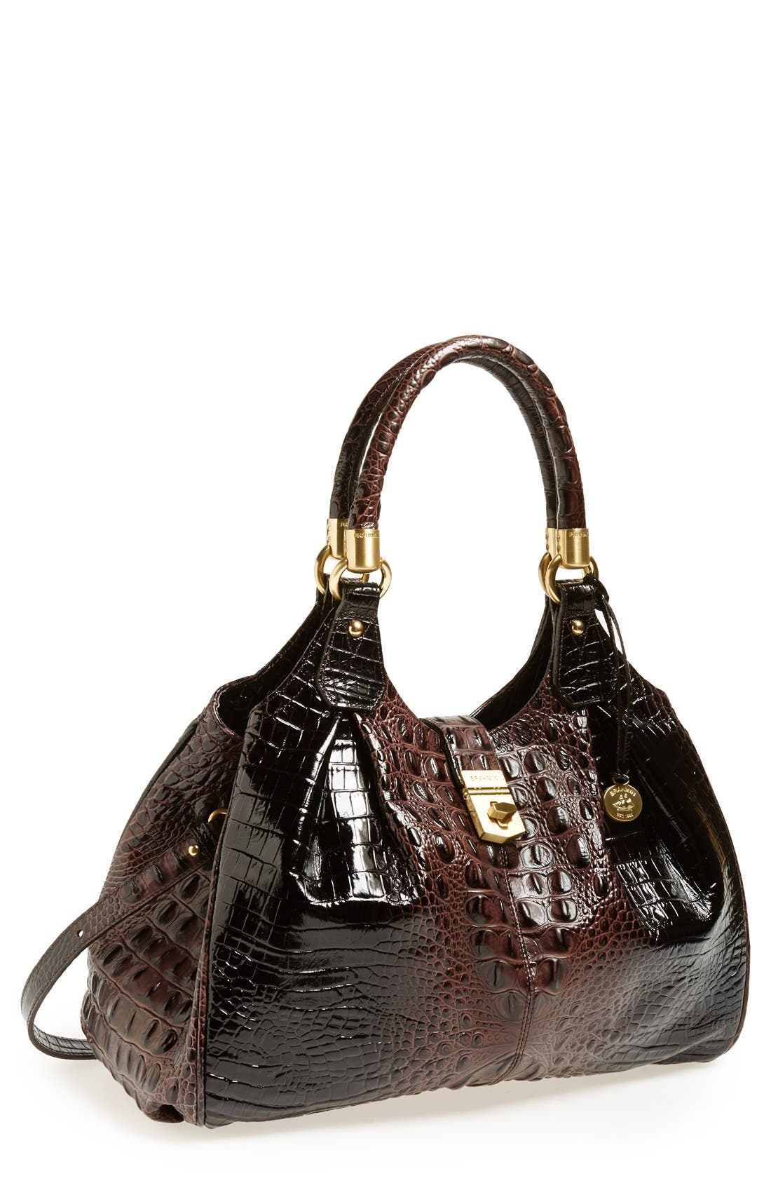 BRAHMIN 'Elisa' Croc Embossed Leather Shoulder Bag