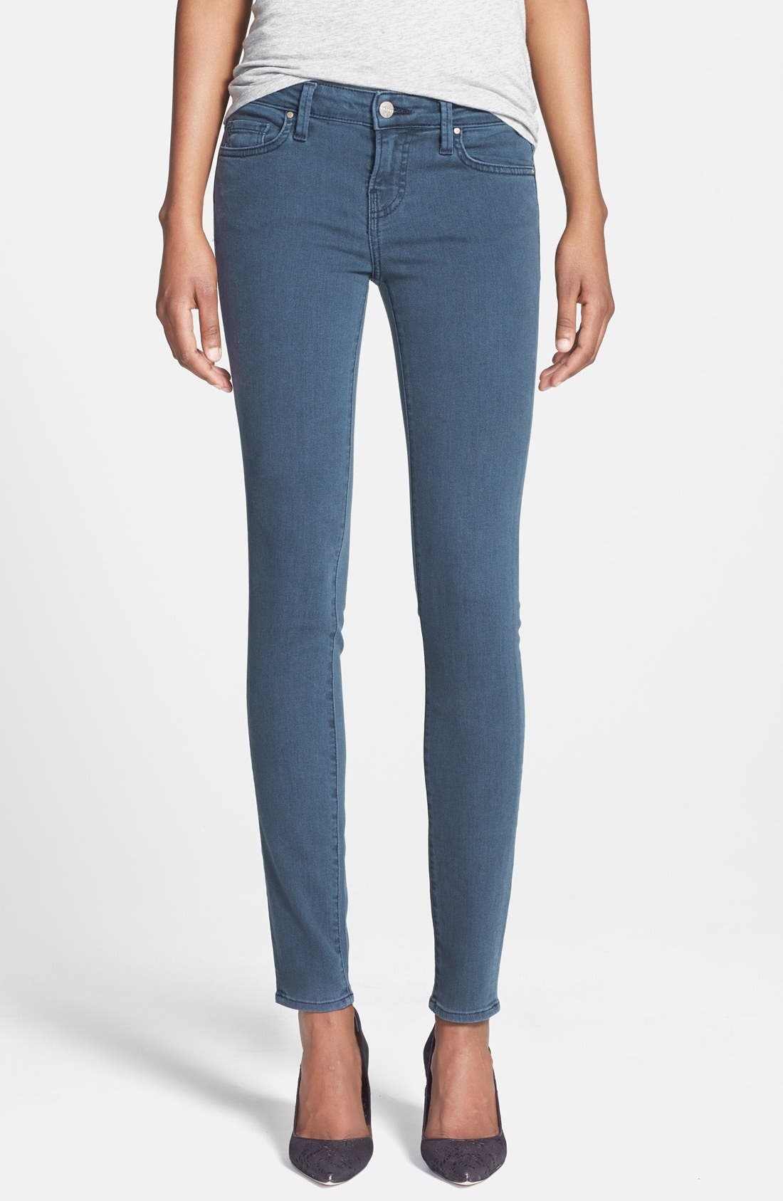 Main Image - Velvet by Graham & Spencer Low Rise Skinny Jeans (Petrol)