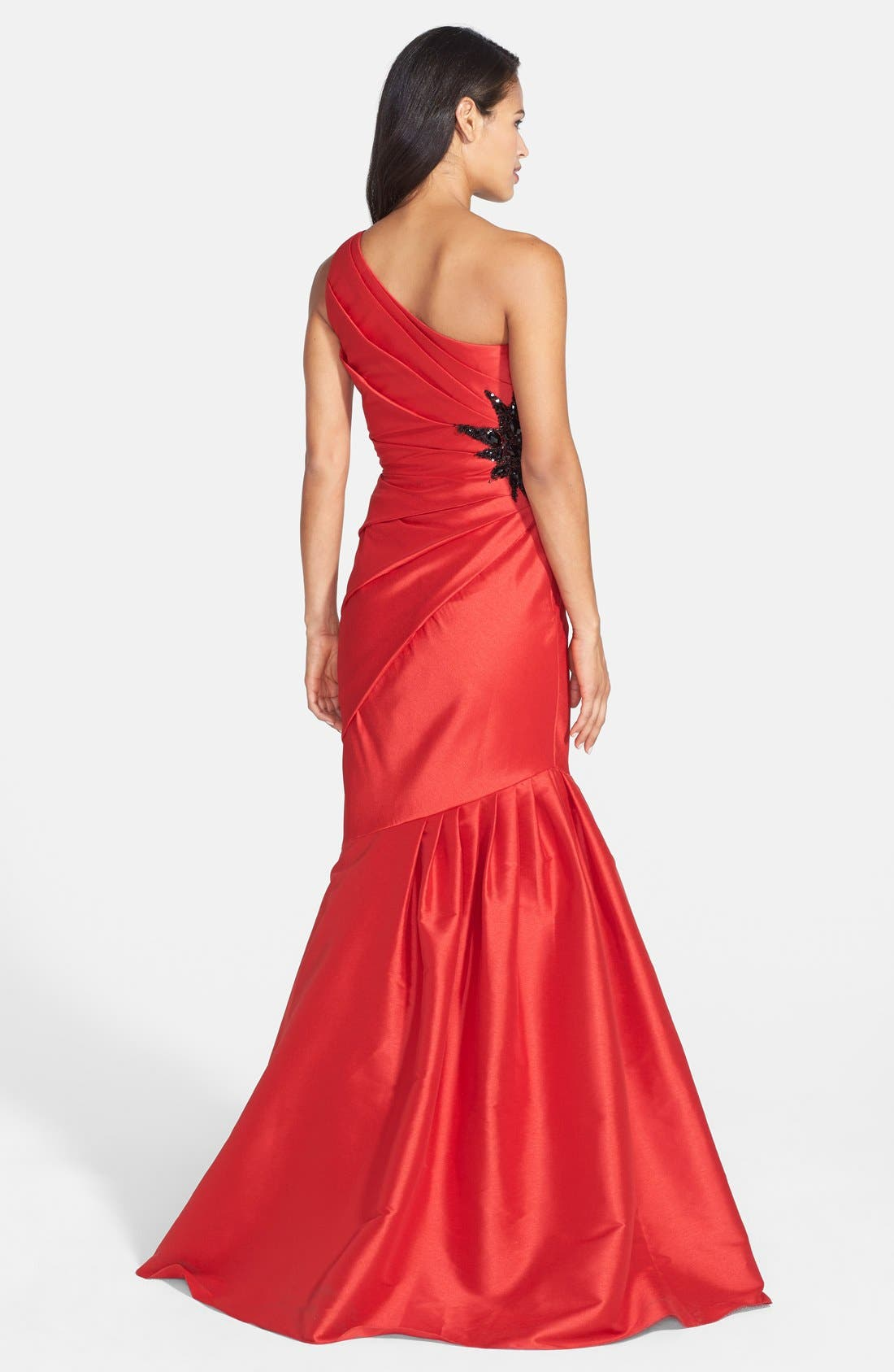 Alternate Image 2  - ML Monique Lhuillier Embellished One-Shoulder Faille Mermaid Gown