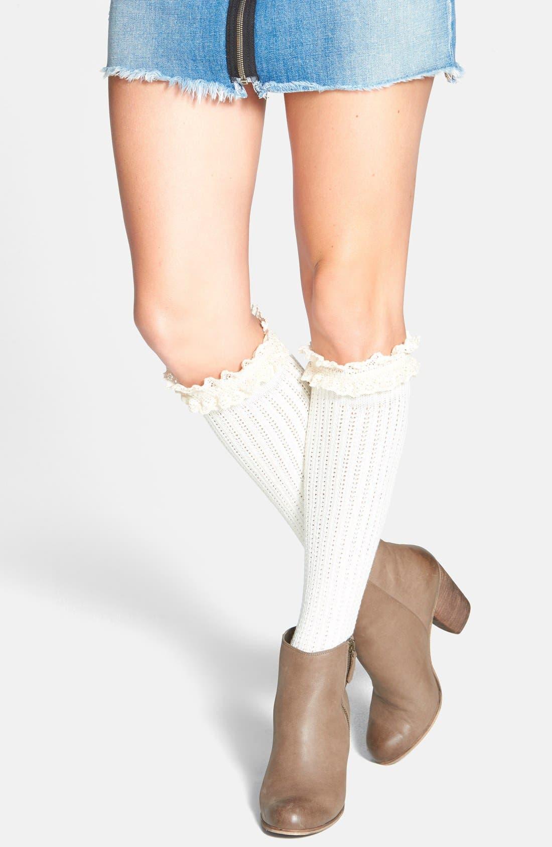 Alternate Image 1 Selected - kensie Pointelle Detail Ruffle Knee High Socks