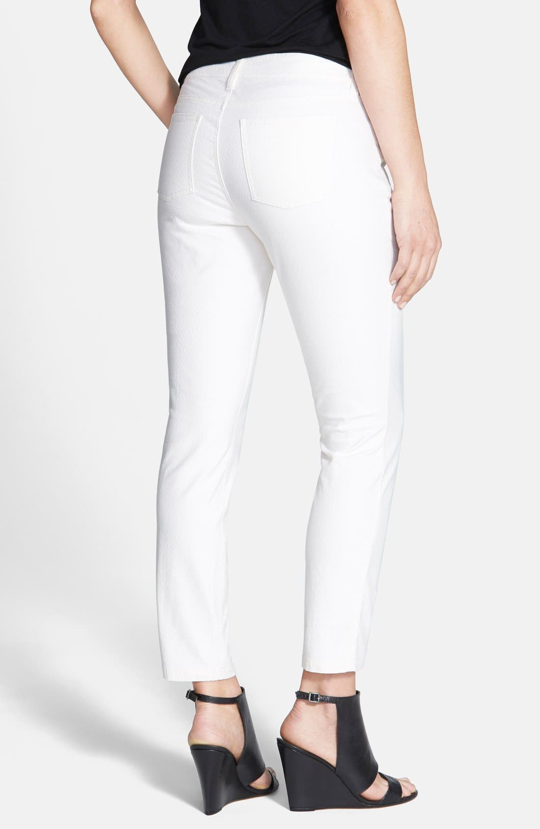 Alternate Image 2  - Eileen Fisher Ankle Skinny Jeans (Soft White) (Petite)
