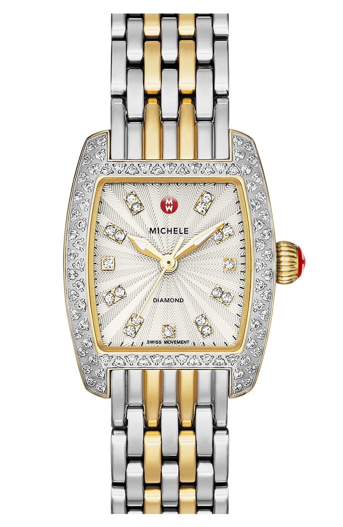 Alternate Image 2  - MICHELE 'Urban Petite Diamond' Diamond Dial Watch Case, 21mm x 22mm (Limited Edition)