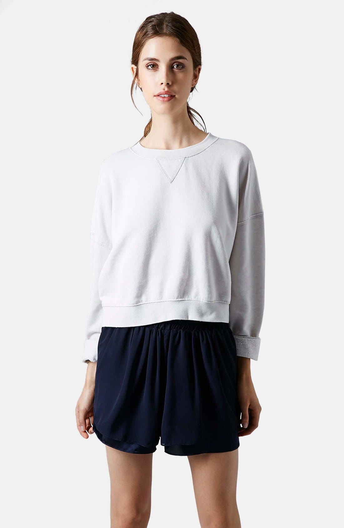 Alternate Image 1 Selected - Topshop Long Sleeve Burnout Sweater