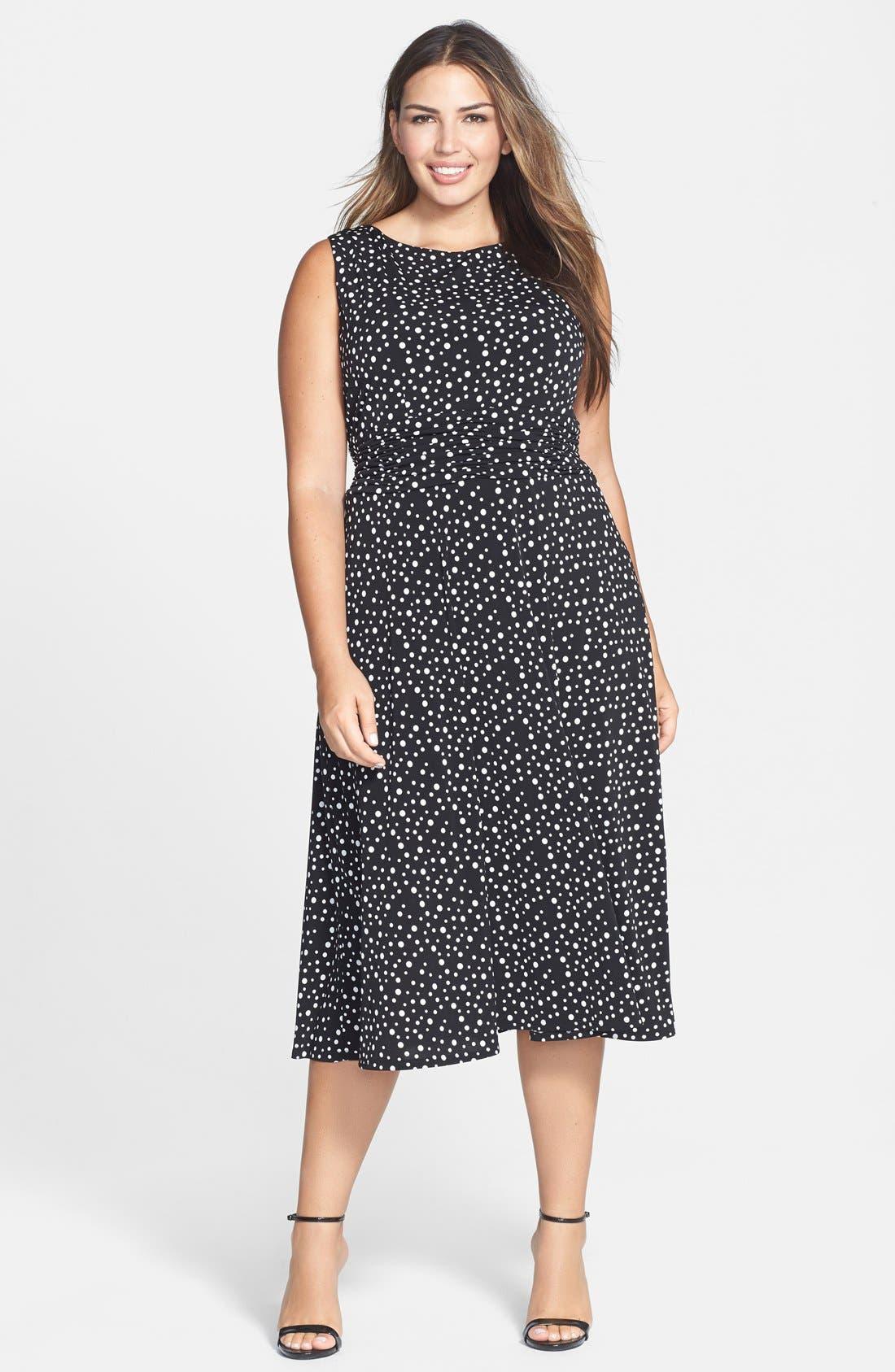 Main Image - Jessica Howard Print Ruched Waist Midi Dress (Plus Size)