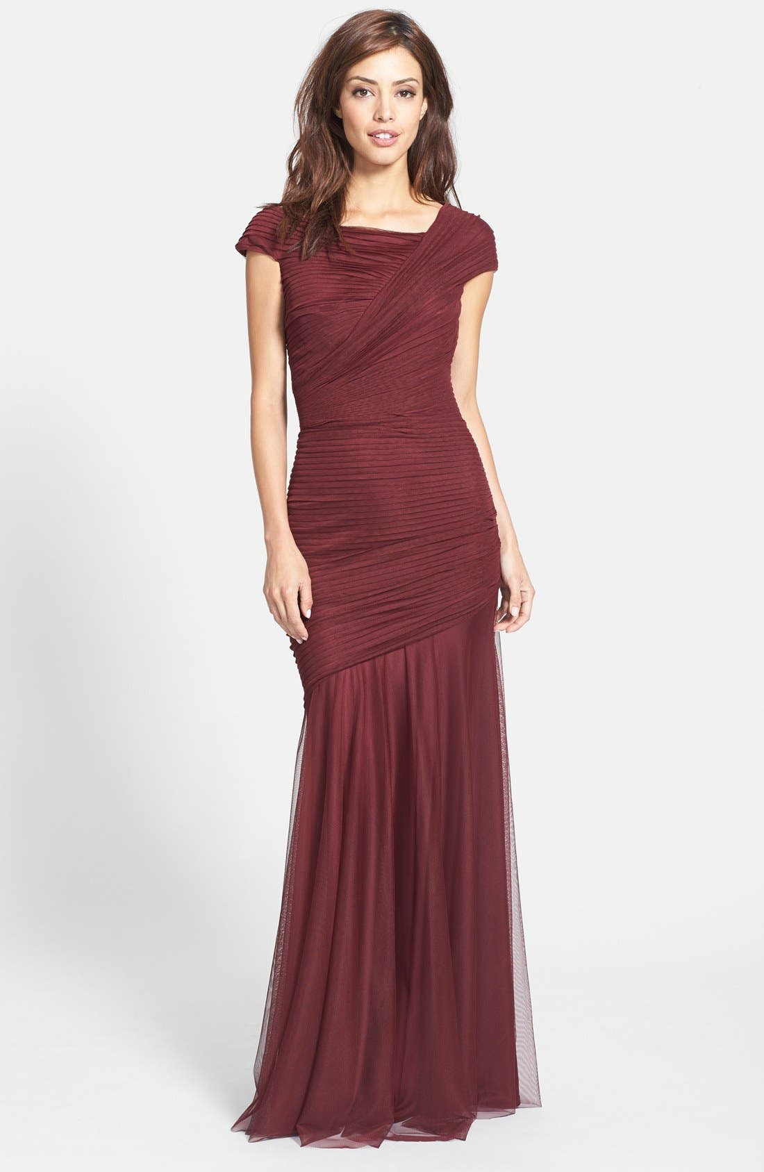 Alternate Image 1 Selected - Tadashi Shoji Asymmetrical Ruched Cap Sleeve Jersey Gown