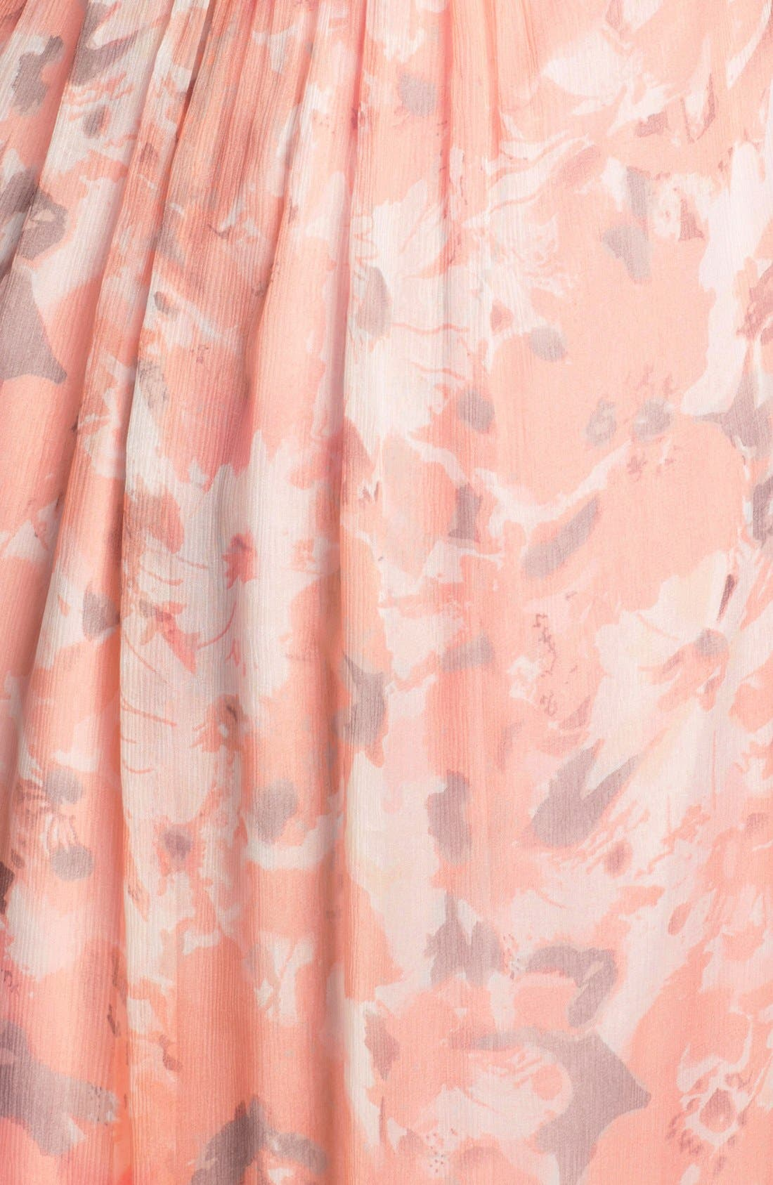 Alternate Image 3  - Amsale Print Crinkled Silk Chiffon Halter Gown