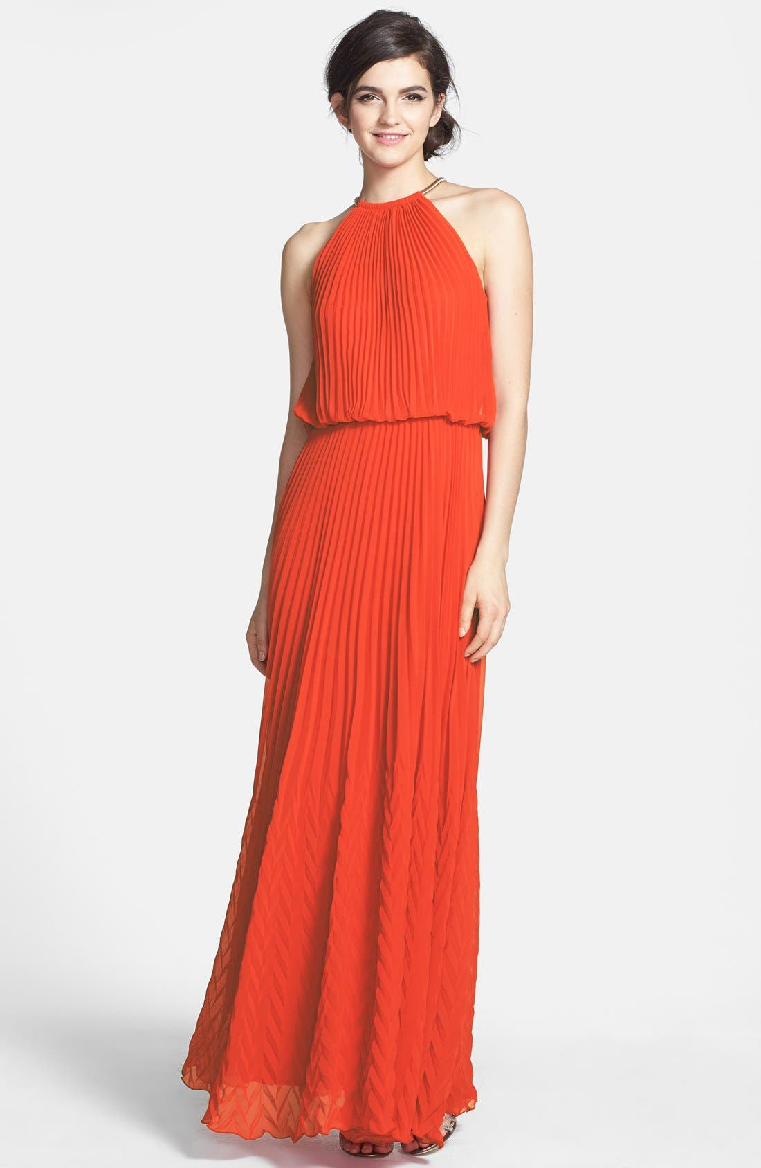 Main Image - Xscape Pleated Chiffon Gown (Regular & Petite)