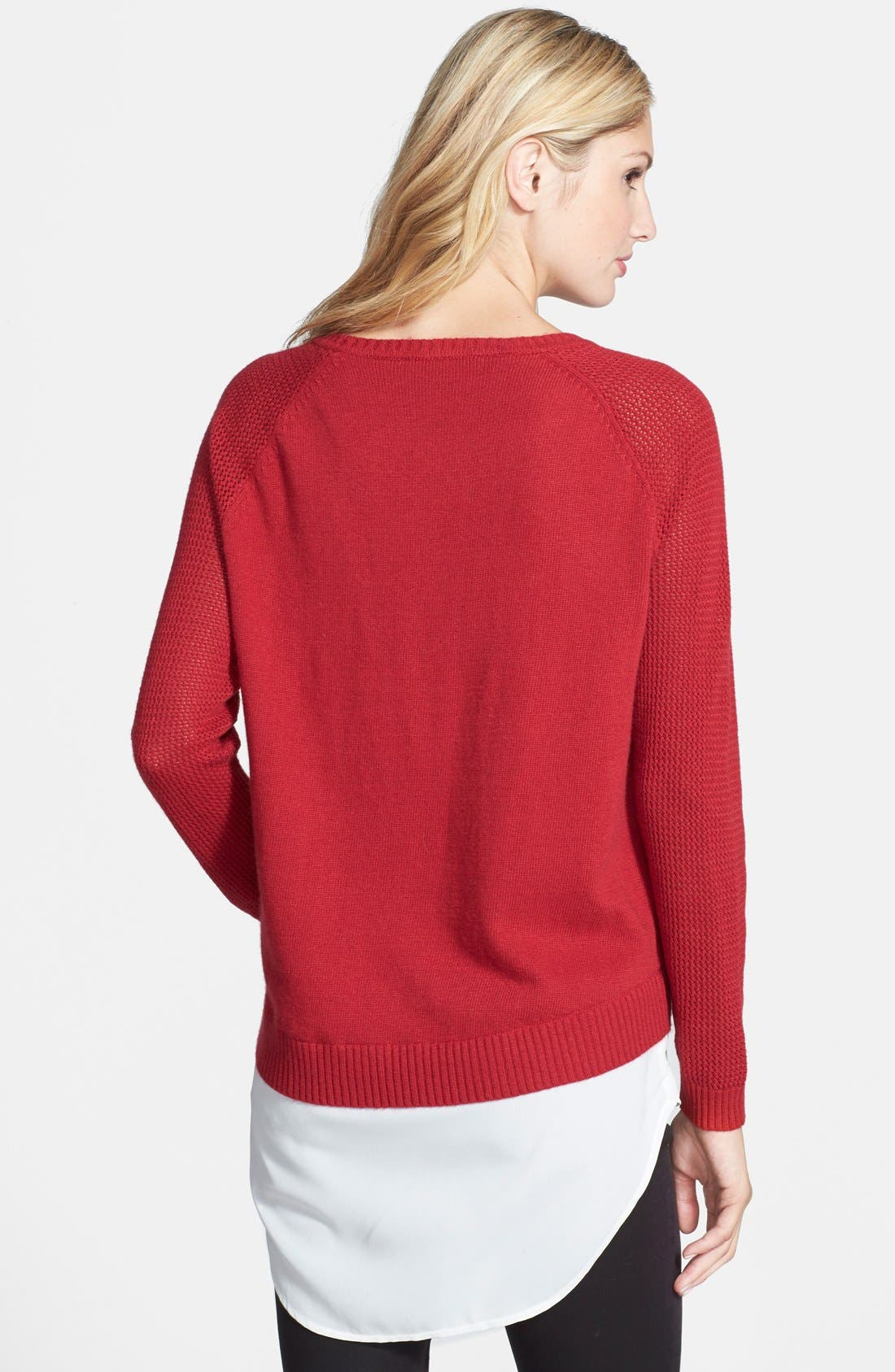 Alternate Image 2  - DKNYC Layer Look Textured Sleeve Sweater