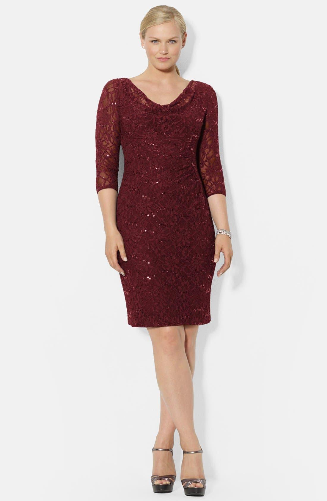 Main Image - Lauren Ralph Lauren Stretch Sequin Lace Dress (Plus Size)