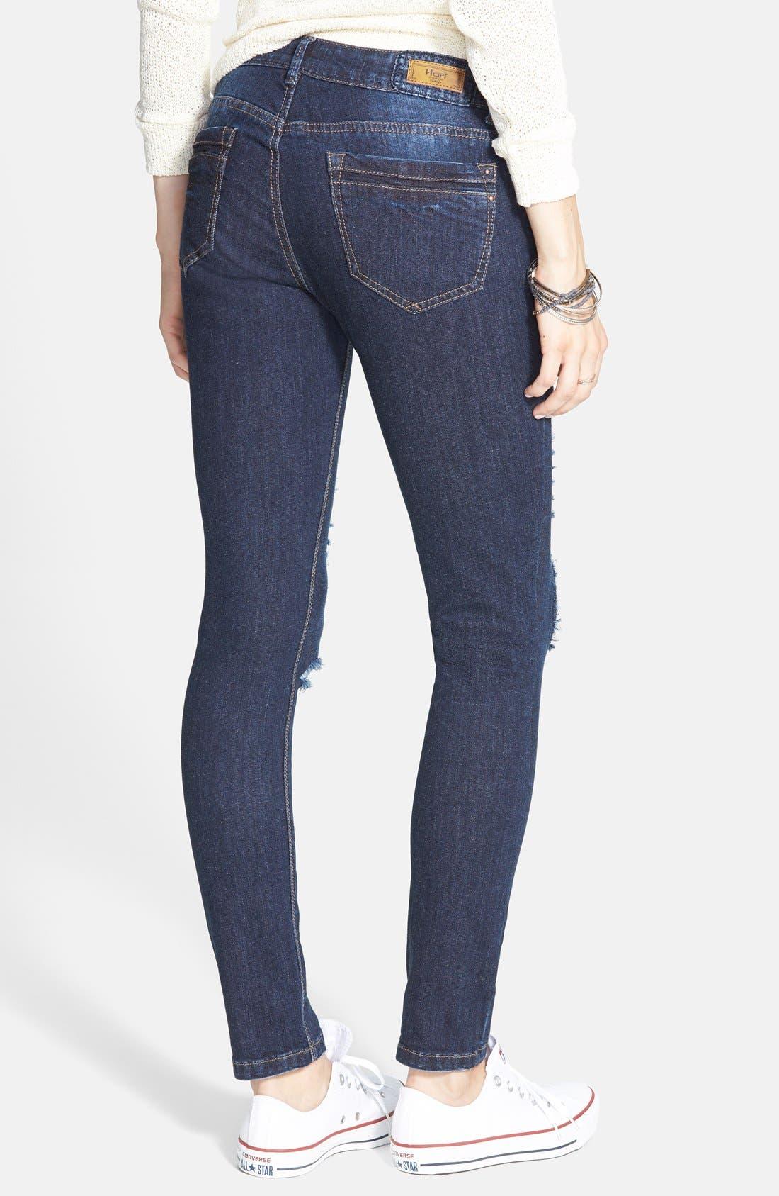 Alternate Image 2  - HART Denim 'Leigh' Destroyed Patched Skinny Jeans (Dark Wash)