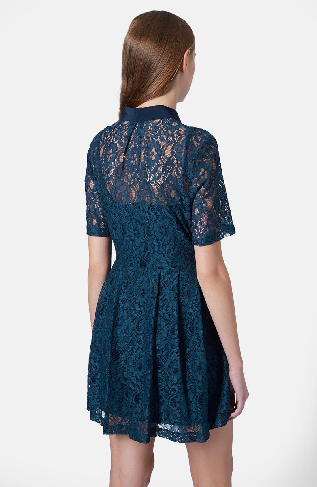 Alternate Image 2  - Topshop Lace Shirt Dress
