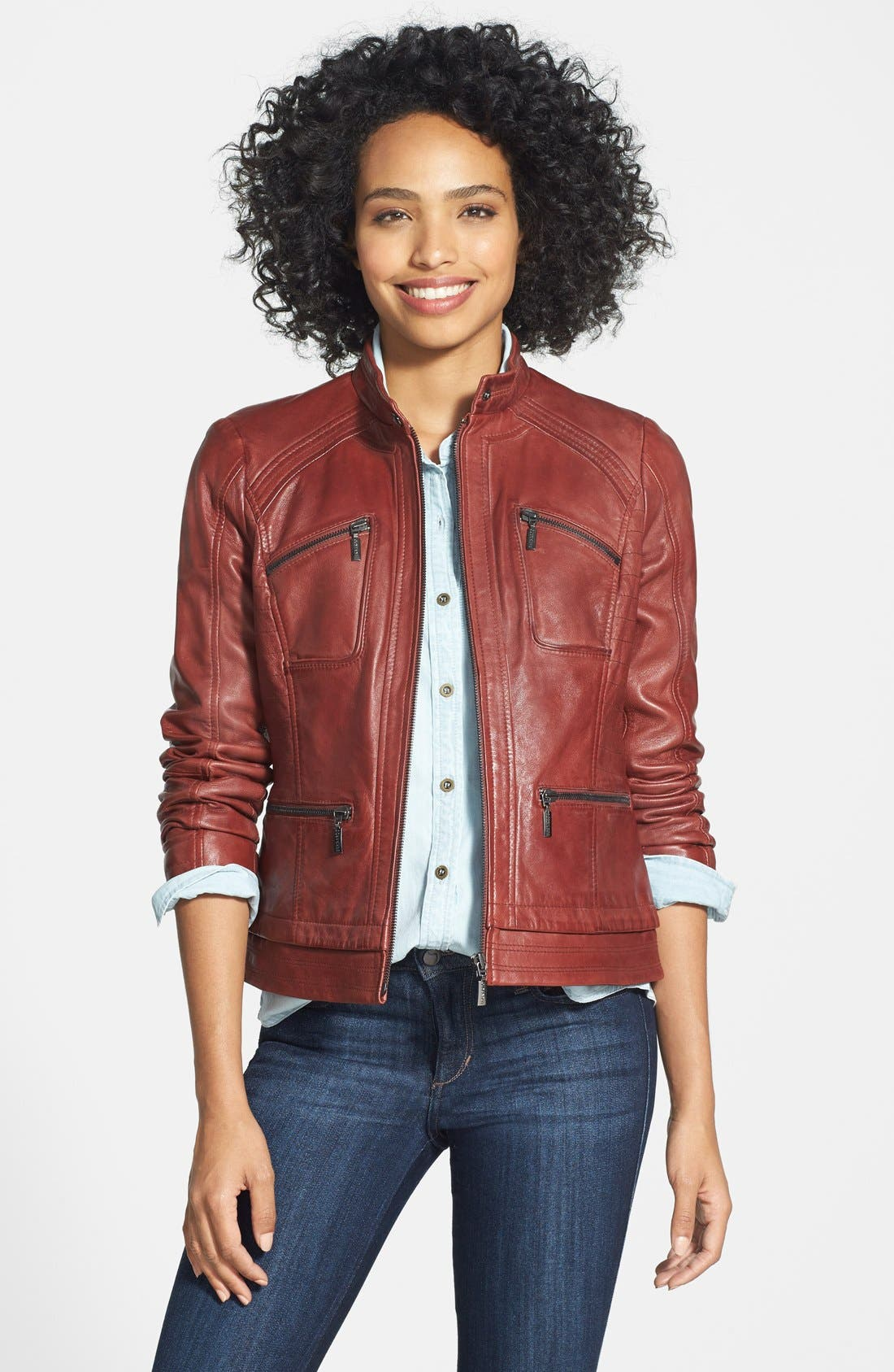Alternate Image 1 Selected - Bernardo Four-Pocket Leather Jacket (Regular & Petite)