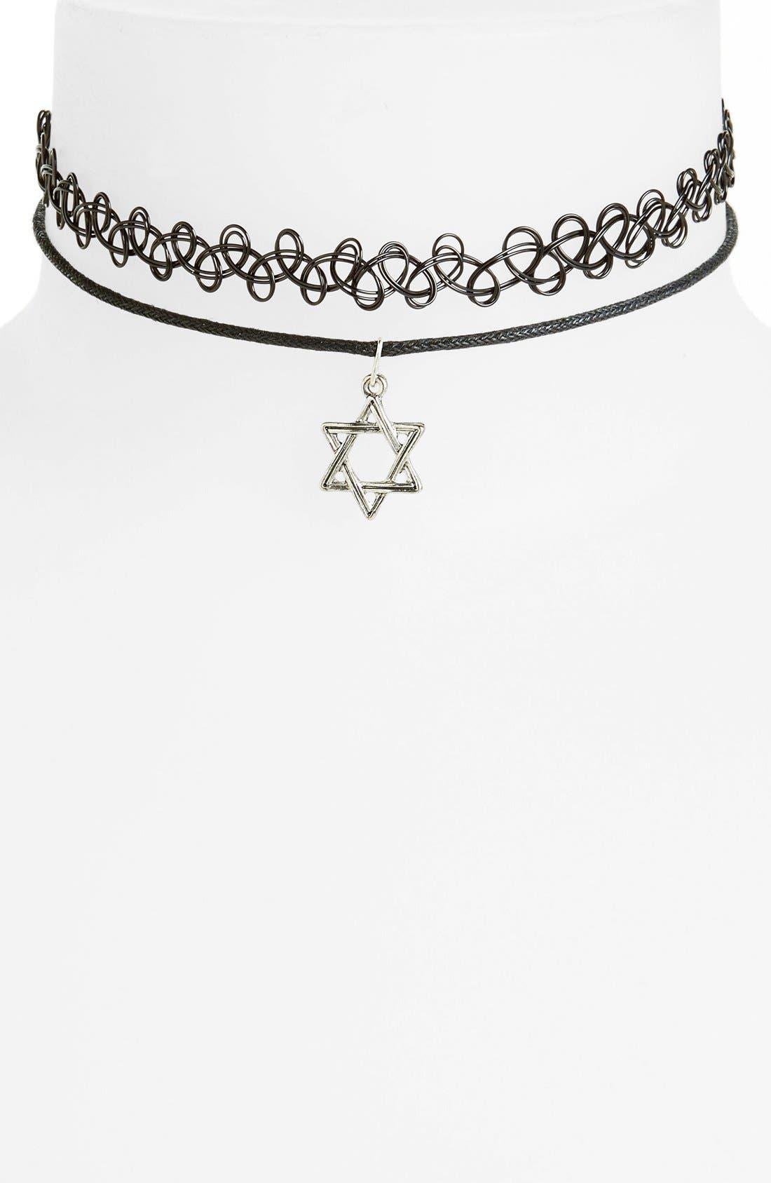Main Image - Topshop Choker Necklaces (Set of 2)