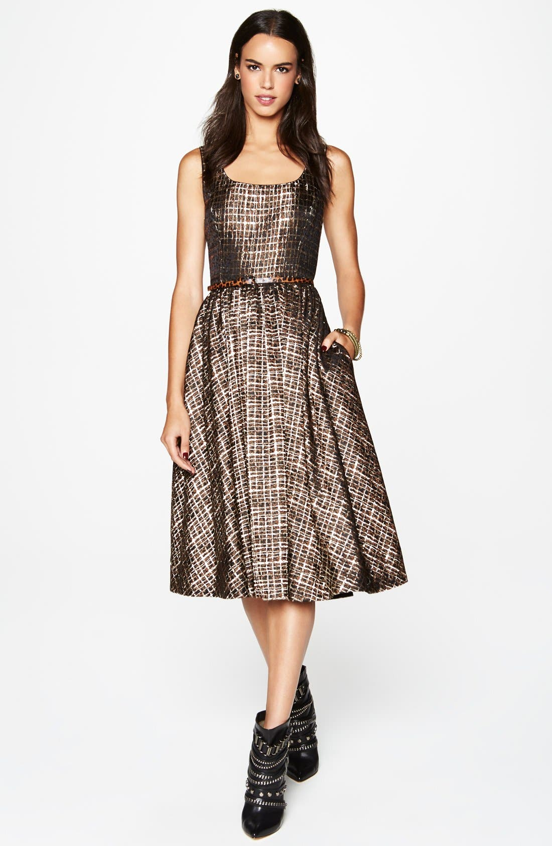 Alternate Image 4  - Donna Morgan Metallic Jacquard Midi Fit & Flare Dress