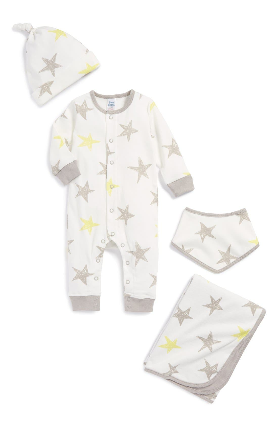 Main Image - Mini Boden Romper, Blanket, Bib & Hat Set (Baby)