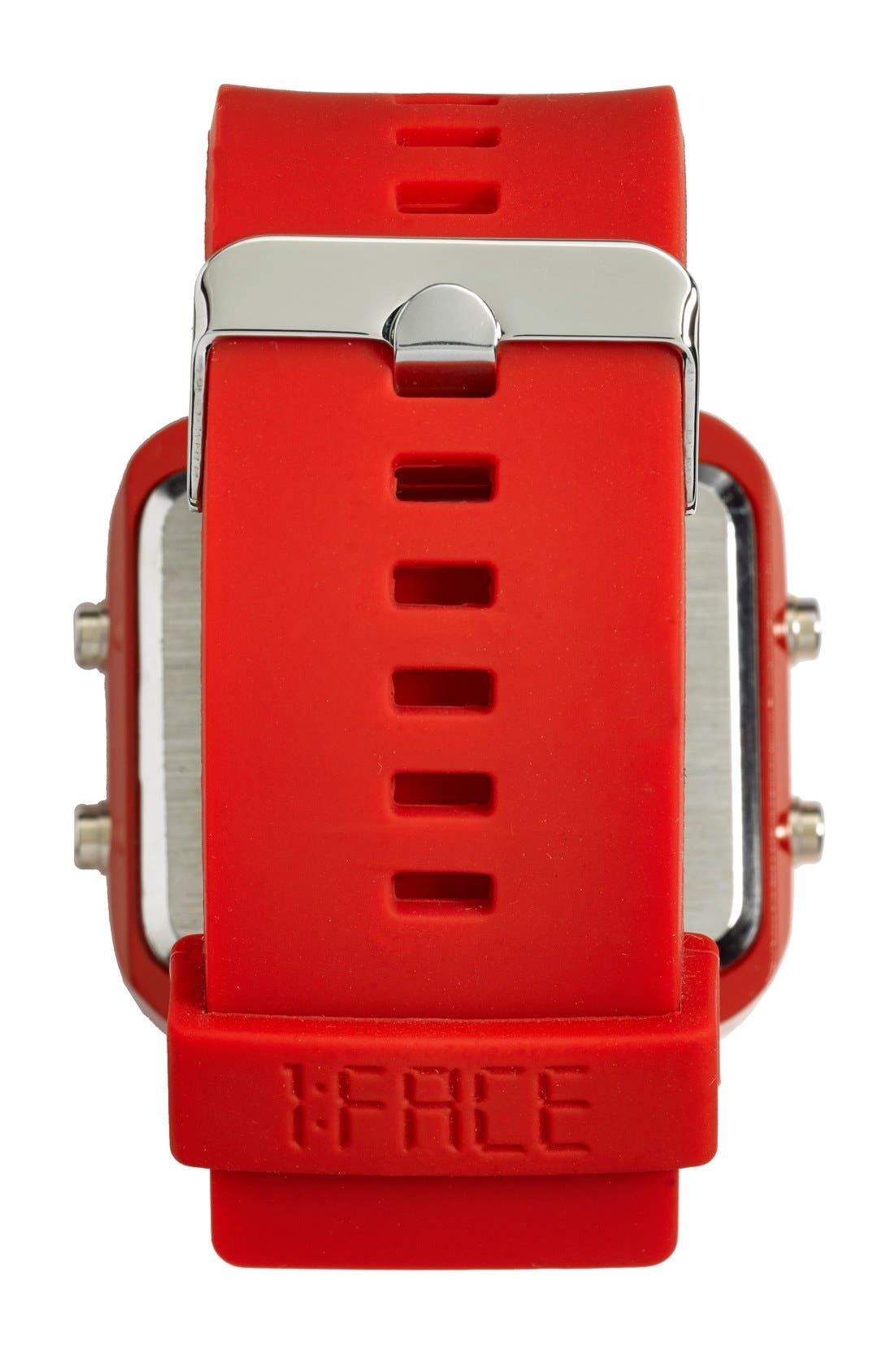 Alternate Image 4  - 1:Face 'AIDS' Square Digital Silicone Strap Watch, 38mm