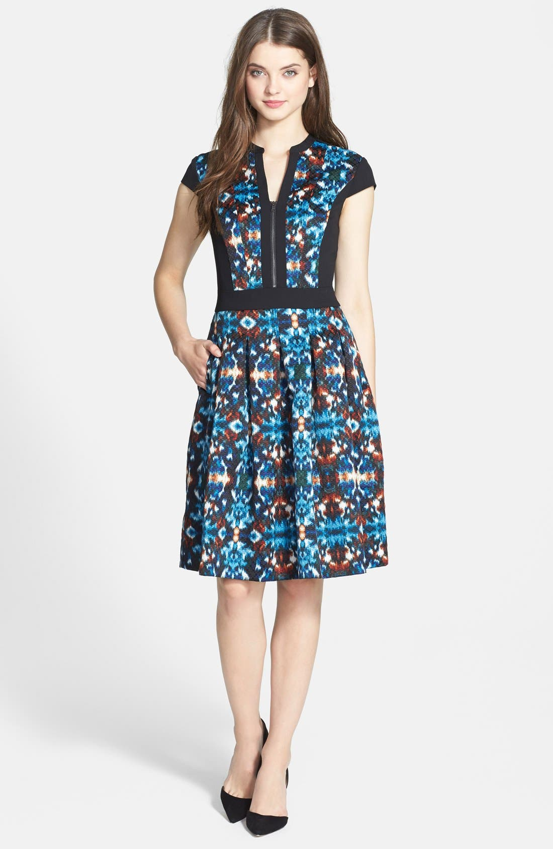 Main Image - Adrianna Papell Ikat Jacquard Fit & Flare Dress