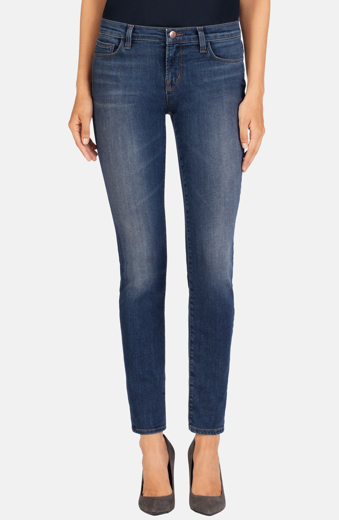 Alternate Image 1 Selected - J Brand Mid Rise Super Skinny Jeans (Lucent)