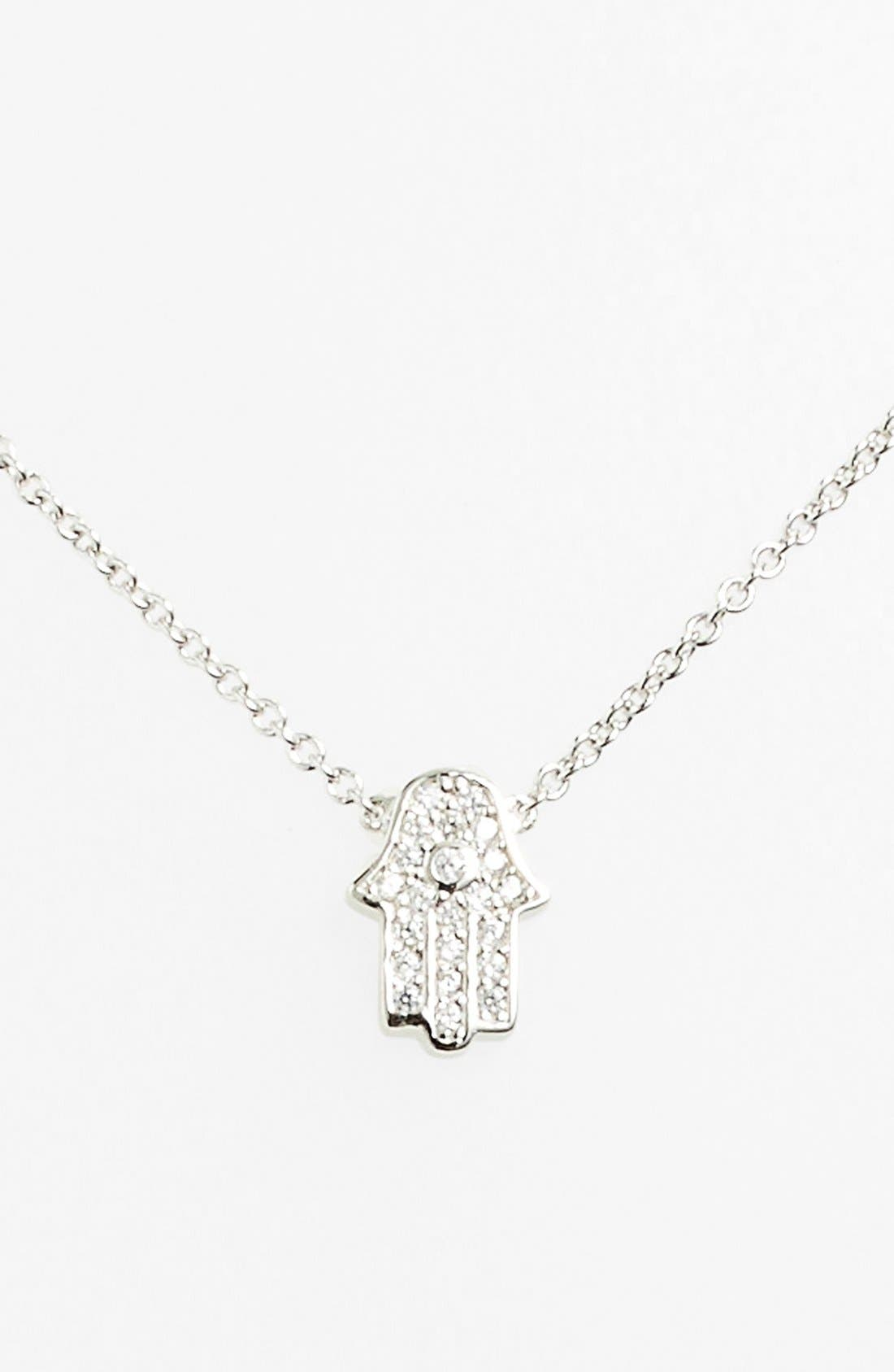 Alternate Image 1 Selected - Sugar Bean Jewelry Pavé Hamsa Pendant Necklace