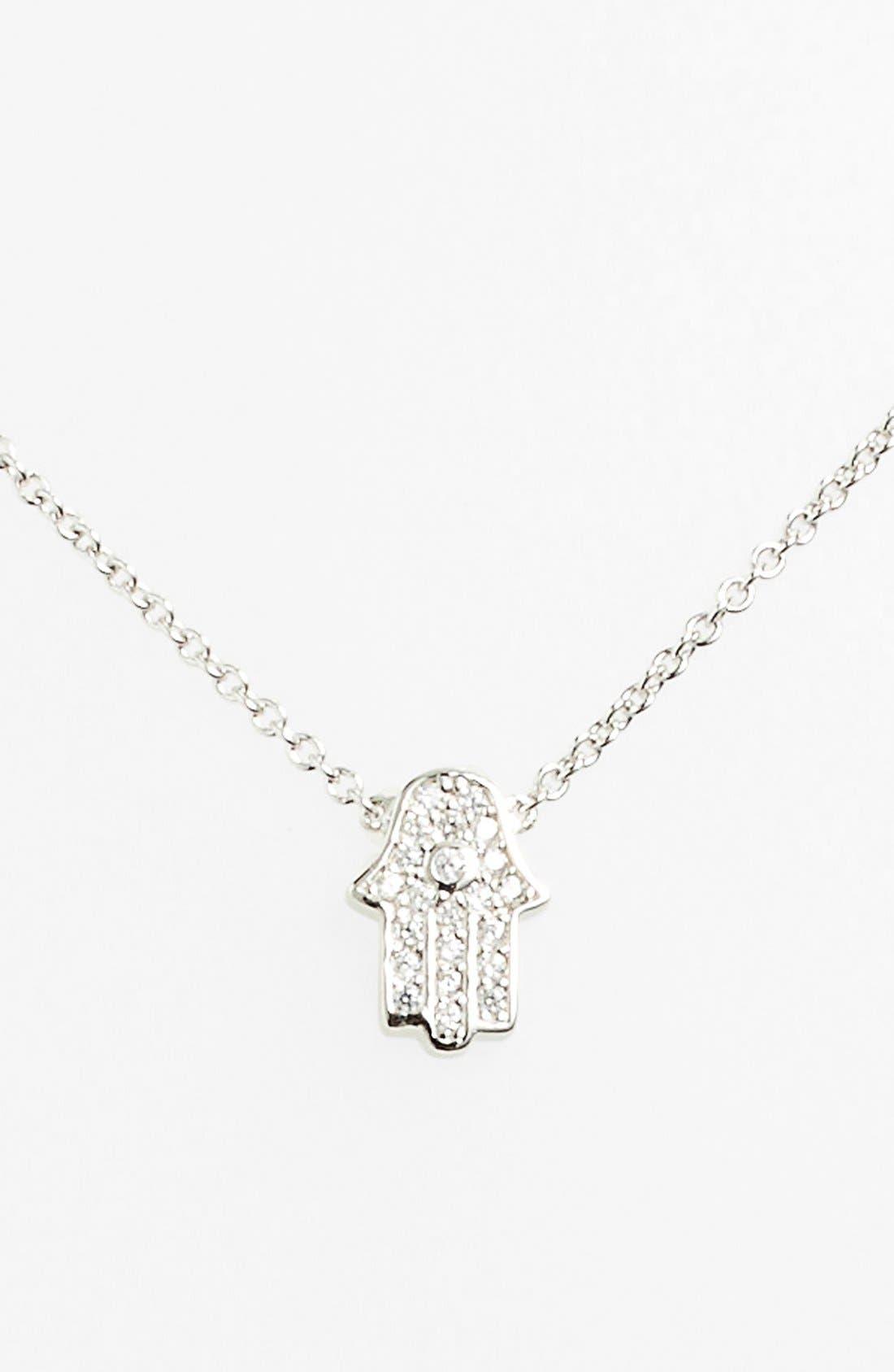 Main Image - Sugar Bean Jewelry Pavé Hamsa Pendant Necklace
