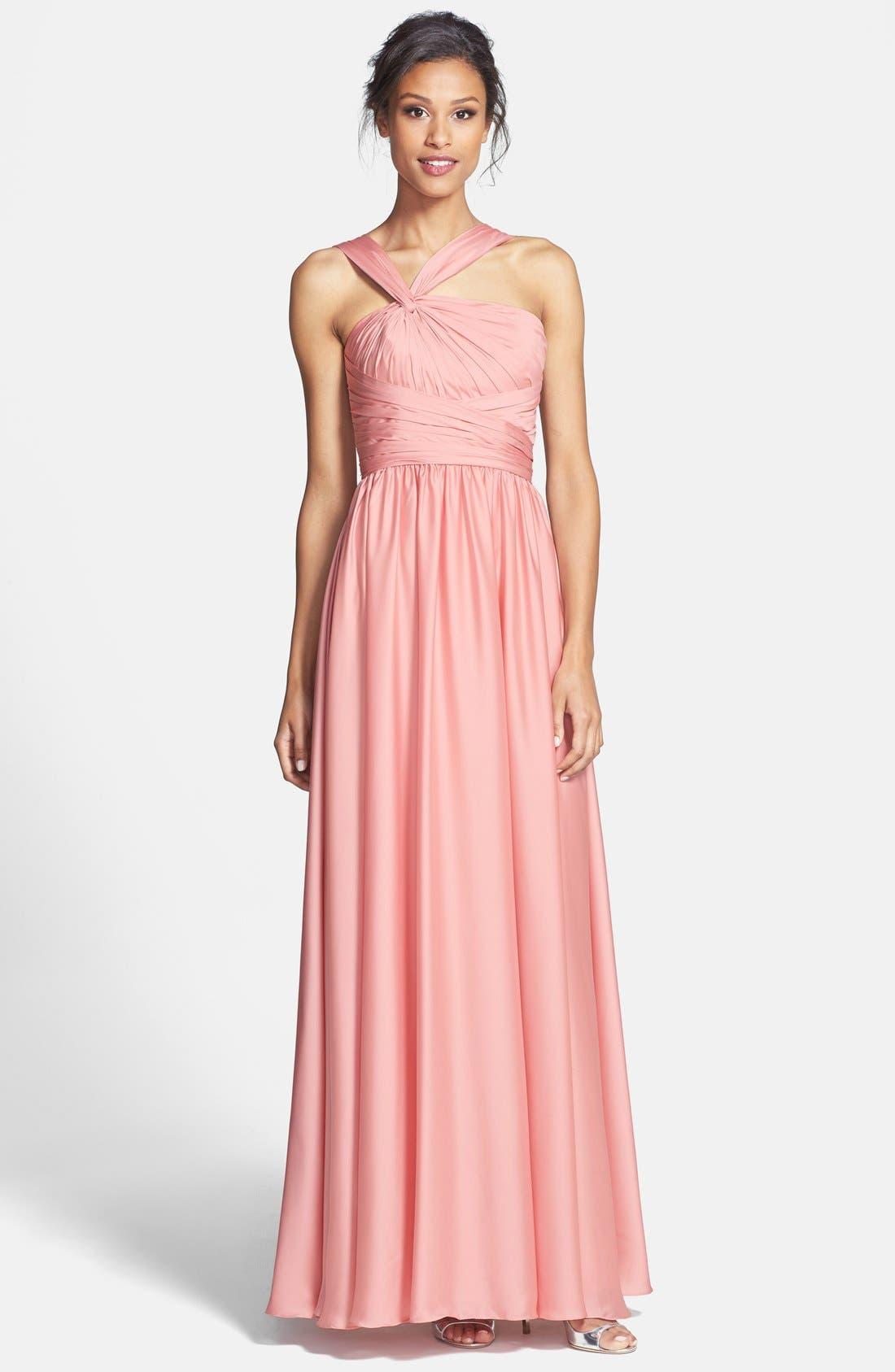 Alternate Image 1 Selected - Monique Lhuillier Bridesmaids Twist Shoulder Satin Chiffon Gown (Nordstrom Exclusive)