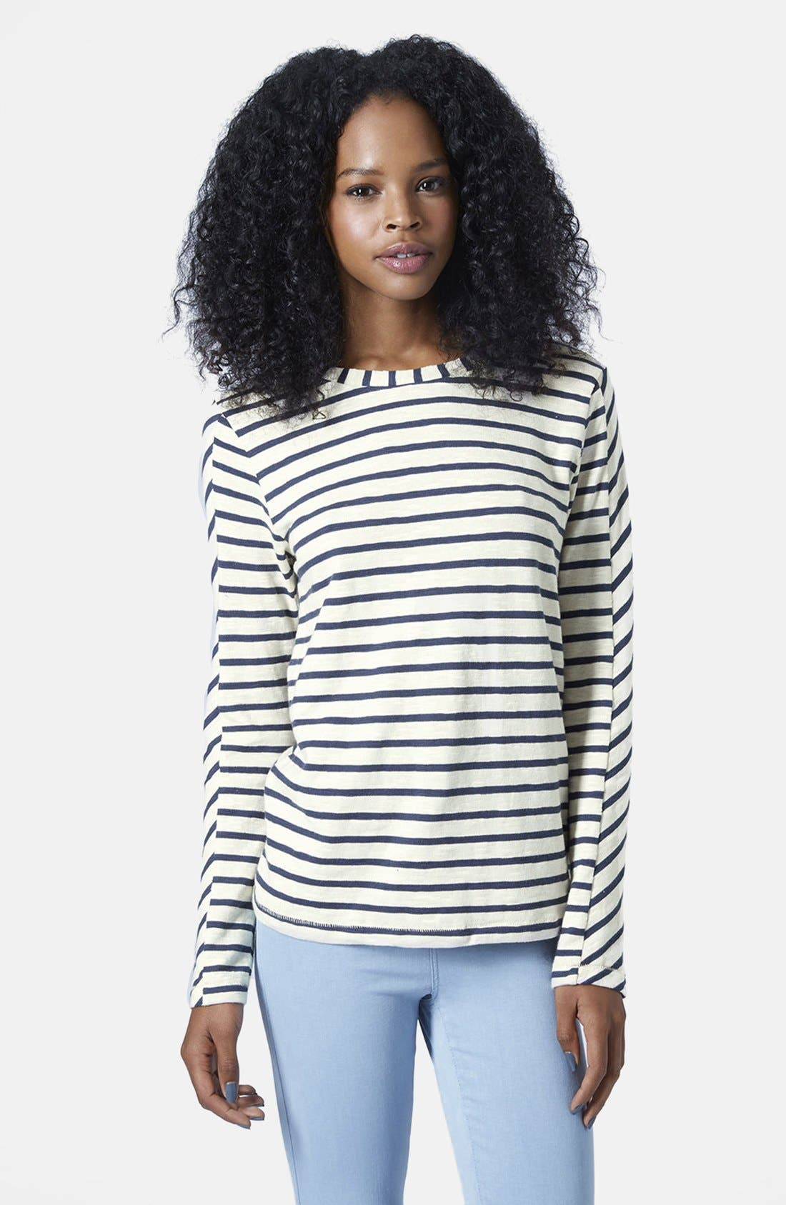 Alternate Image 1 Selected - Topshop Long Sleeve Stripe Top